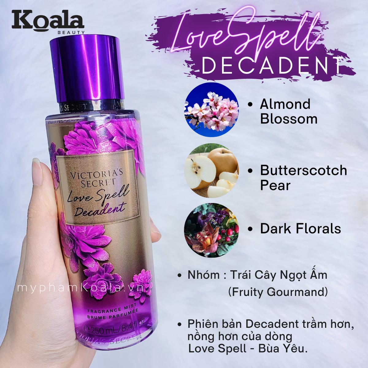 Xịt Body Victoria's Secret LOVE SPELL DECADENT Fragrance Mist