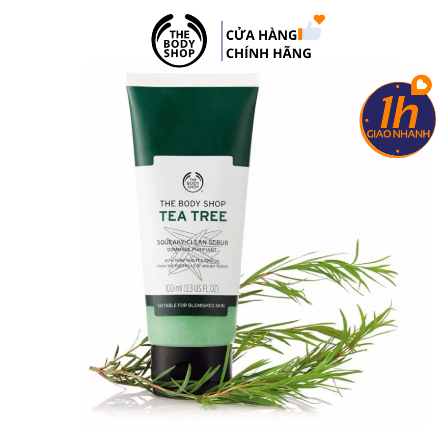Tẩy Da Chết Trị Mụn Kiềm Dầu The Body Shop Tea Tree Squeaky Clean Scrub 100ml