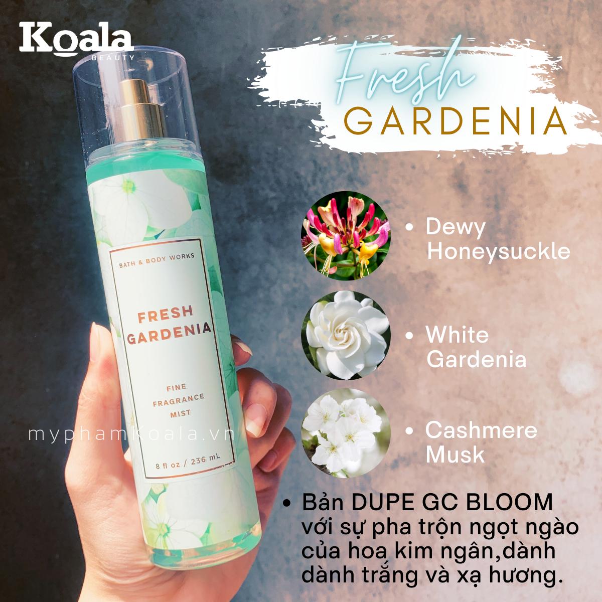 Xịt Body Bath & Body Works FRESH GARDENIA Fine Fragrance Mist