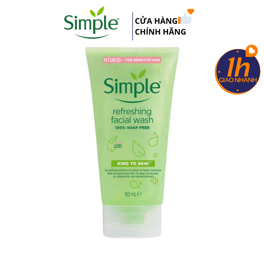 Sữa Rửa Mặt Dịu Nhẹ Dạng Gel Simple Kind To Skin Refreshing Facial Wash Gel 150ml