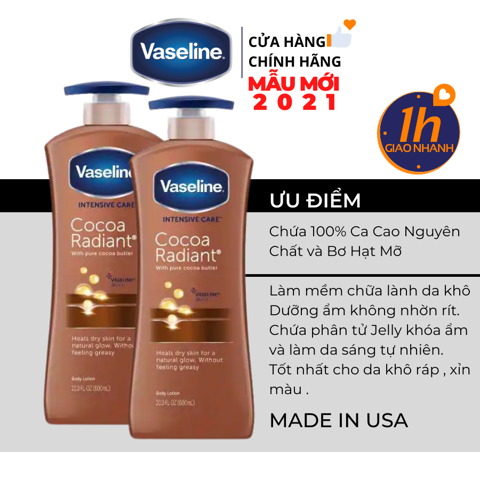 Dưỡng Thể Vaseline Intensive Care Cocoa Radiant Body Lotion 725ml