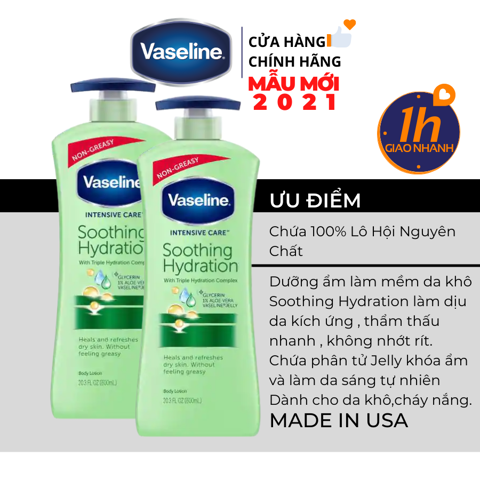 Dưỡng Thể Vaseline Intensive Care Soothing Hydration Body Lotion 725ml