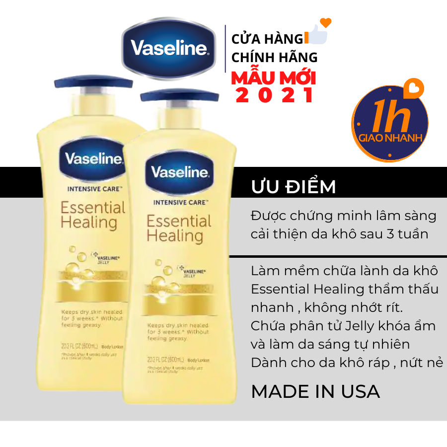 Dưỡng Thể Vaseline Intensive Care Essential Healing Body Lotion 725ml