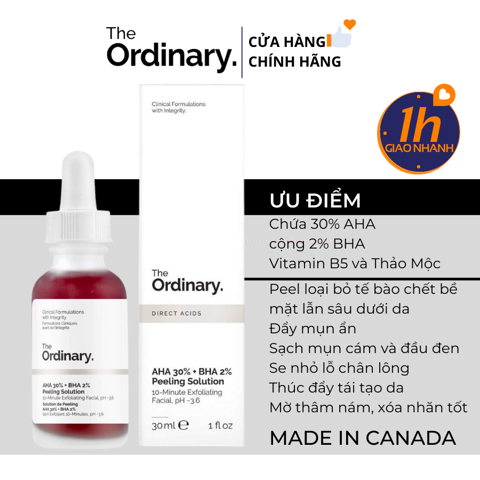 Serum Tẩy Da Chết Hóa Học The Ordinary AHA 30% + BHA 2% Peeling Solution 30ml