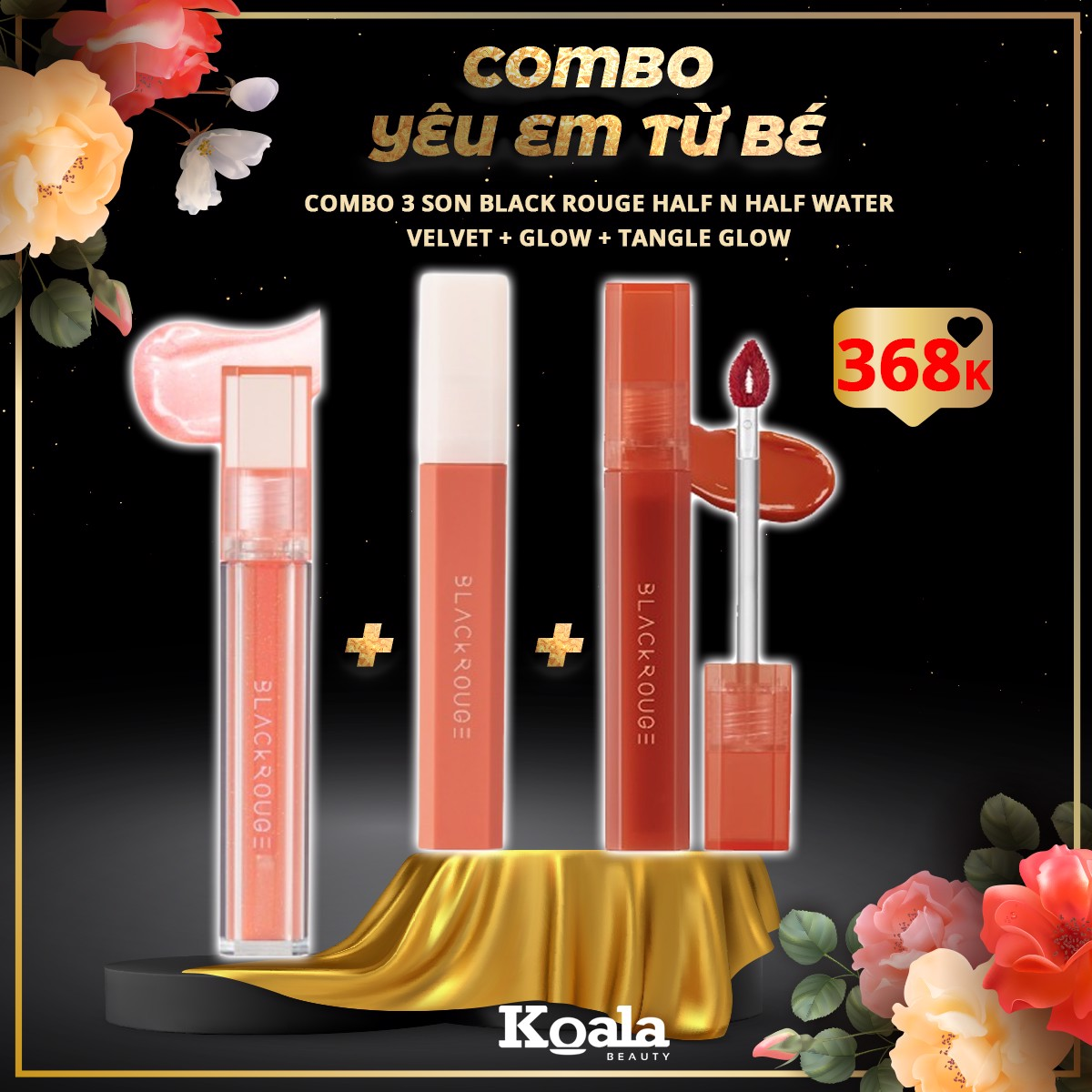 8/3 Combo YÊU EM TỪ BÉ - 3 Son Black Rouge Half N Half Water (Velvet + Glow + Tangle Glow)