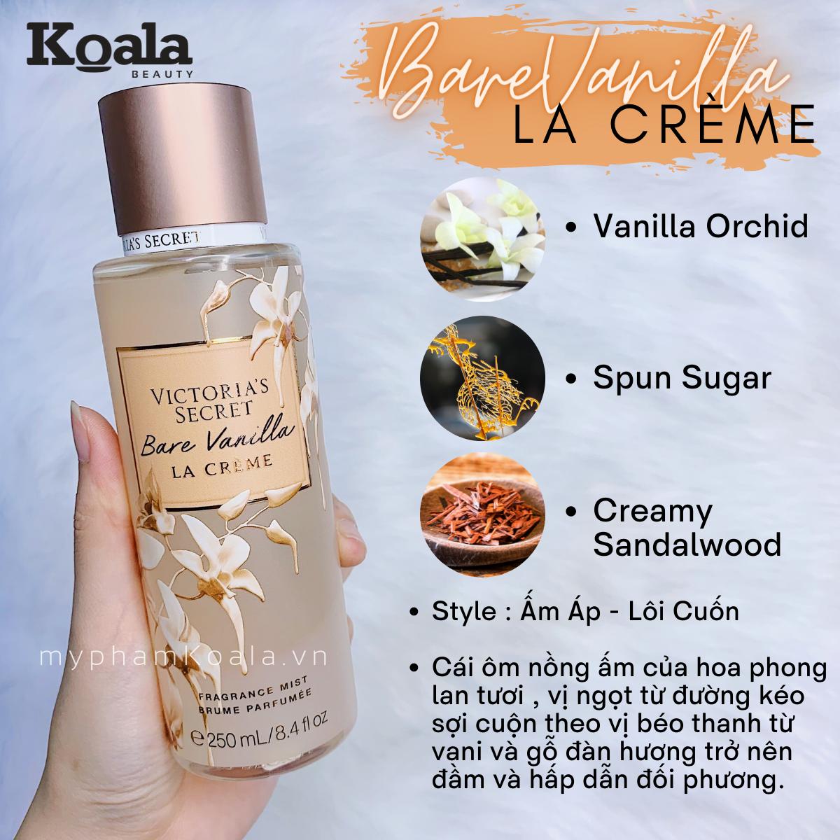 Xịt Body Victoria's Secret BARE VANILLA LA CREME Fragrance Mist
