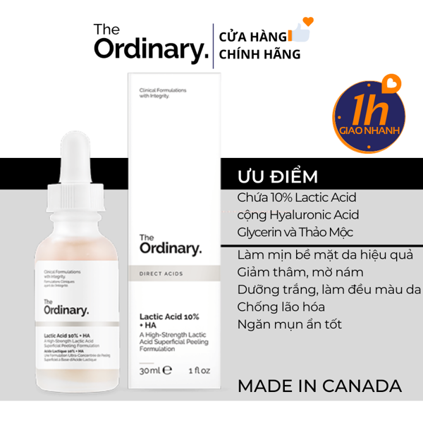 Serum AHA Tẩy Da Chết,Mờ Thâm The Ordinary Lactic Acid 5% 10% + HA 30ml