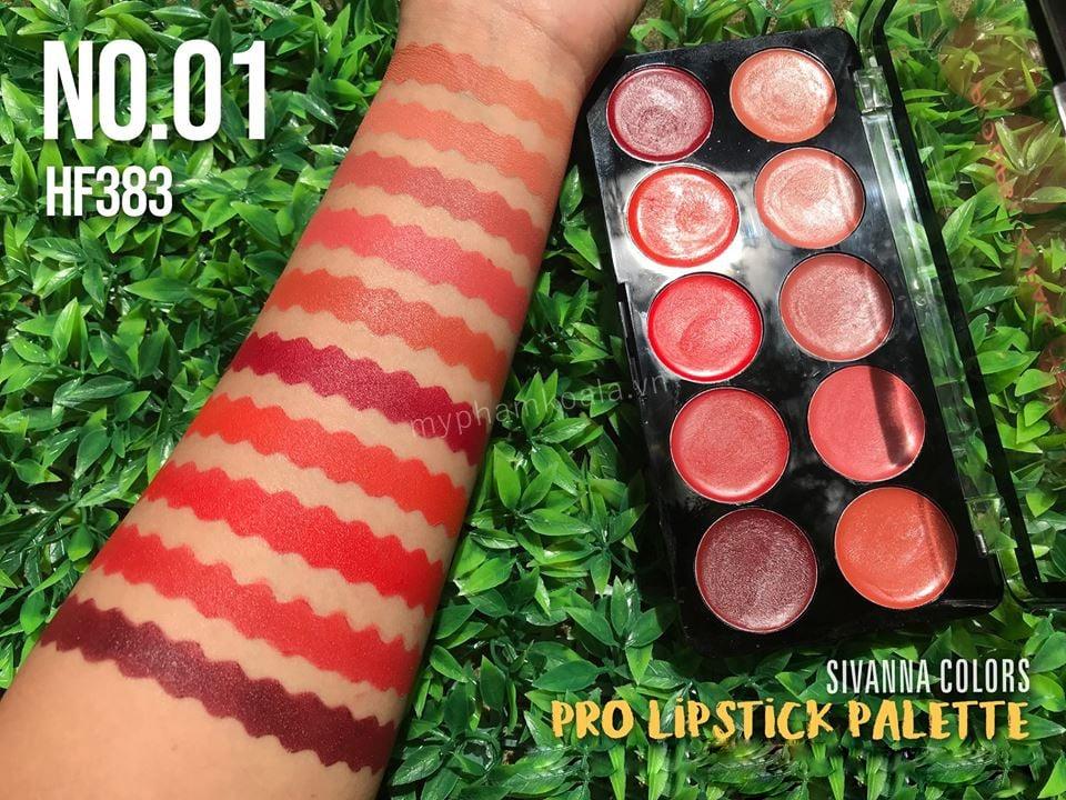 Set Son 10 Ô Sivanna Colors Pro Lipstick Palette HF383