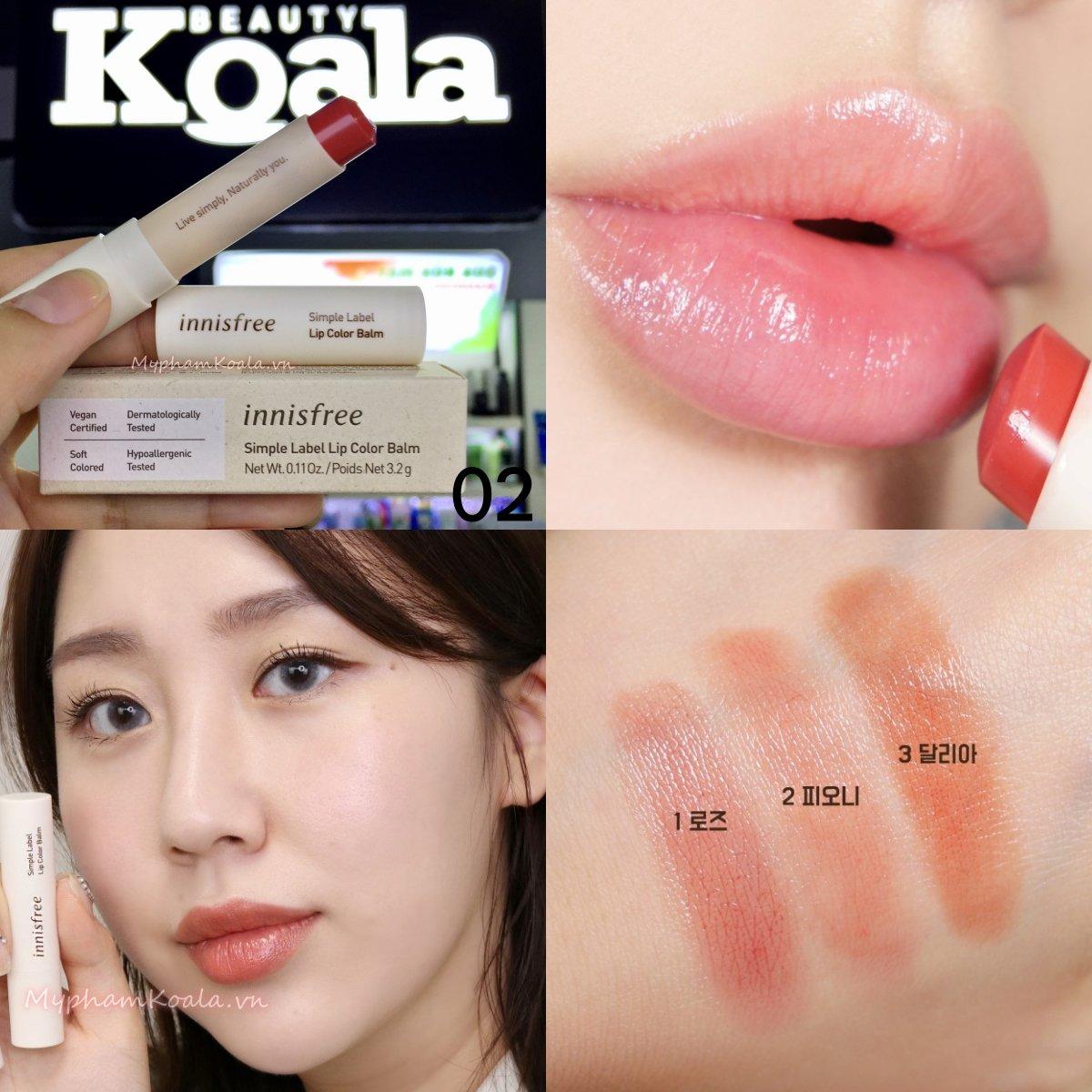 Son Dưỡng Có Màu Innisfree Simple Label Lip Color Balm (Thuần Chay Vegan)