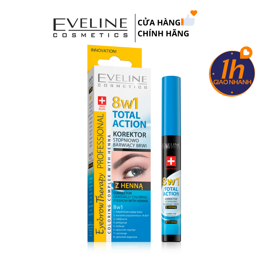Dưỡng Dày Lông Mày và Nhuộm Eveline 8in1 Eyebrow Therapy Professional Coloring Complex With Henna