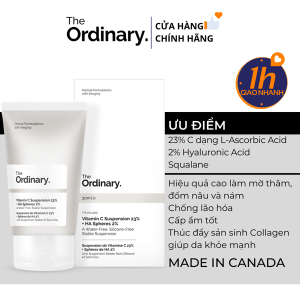 Kem Trắng Da Cấp Nước The Ordinary Vitamin C Suspension 23% + HA Spheres 2%