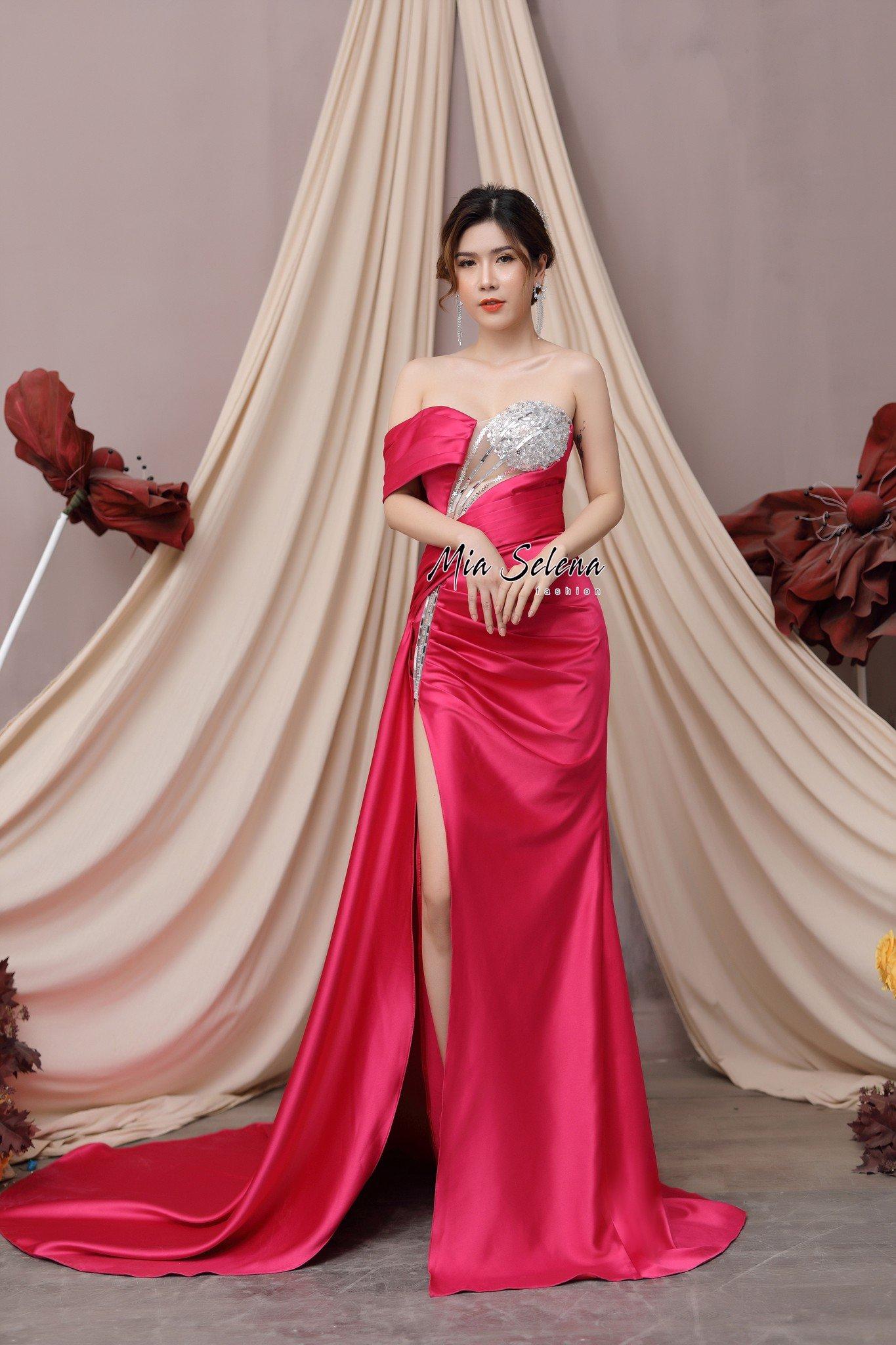 Đầm Dạ Hội Hồng Đính Kết MiaSelena thiết kế sang trọng trẻ trung