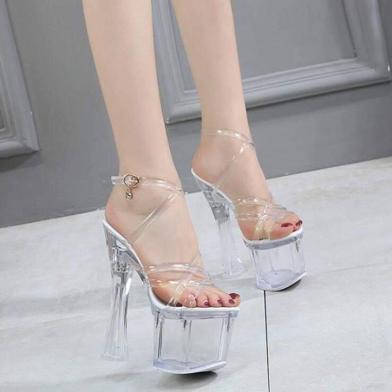 Giày cao gót Mia Selena quai chéo trong suốt đế vuông size 35