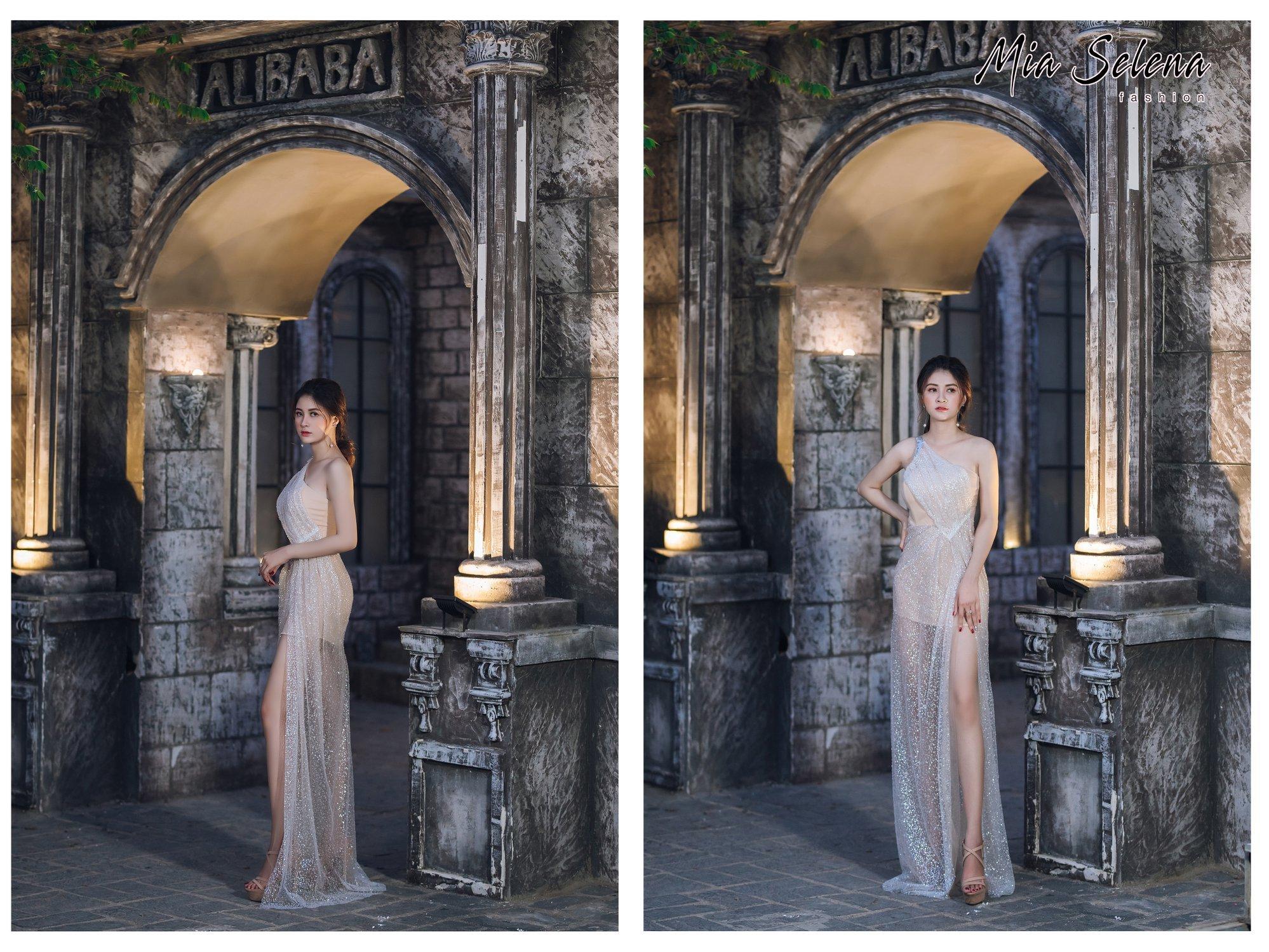 Đầm dạ hội Mia Selena  kim tuyến new xẻ tà tuyệt đẹp ( Trắng kem )