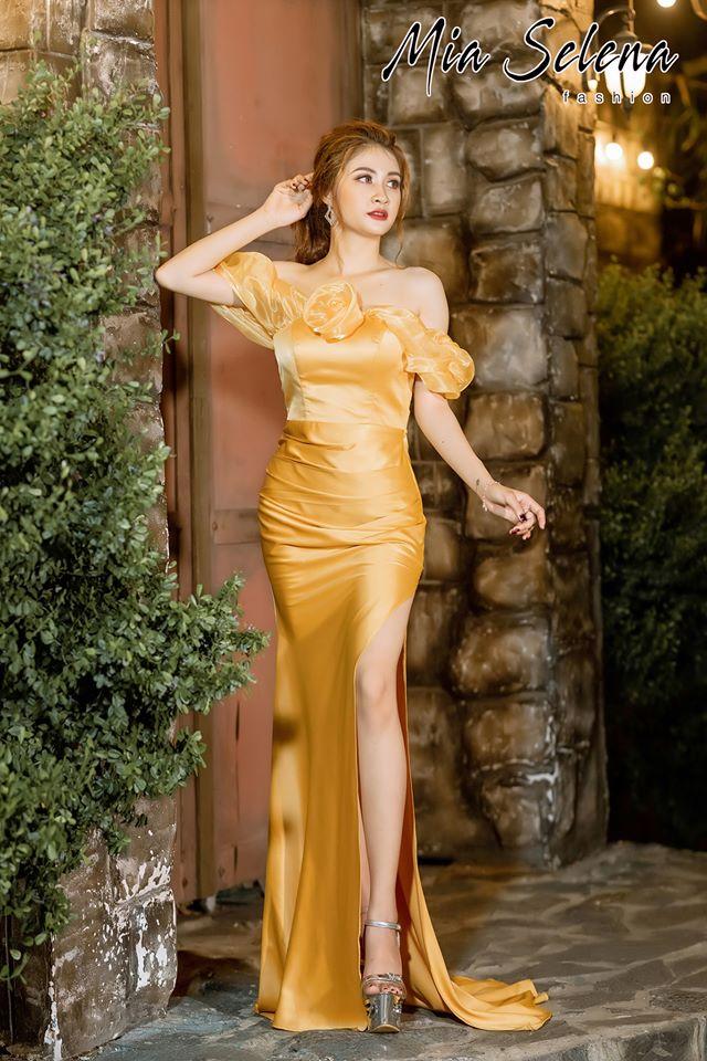 Đầm dạ hội Mia Selena thiết kế bẹt vai phối voan hoa trang trọng tinh tế (Vàng)