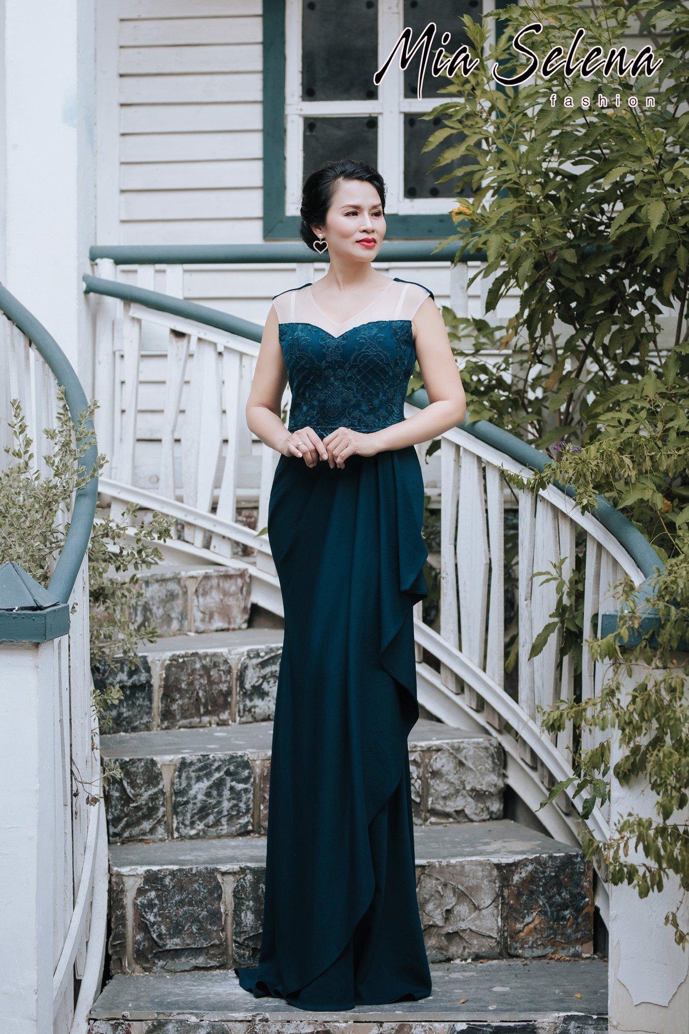 Đầm dạ hội trung niên Mia Selena thiết kế sang trong (Xanh đậm)