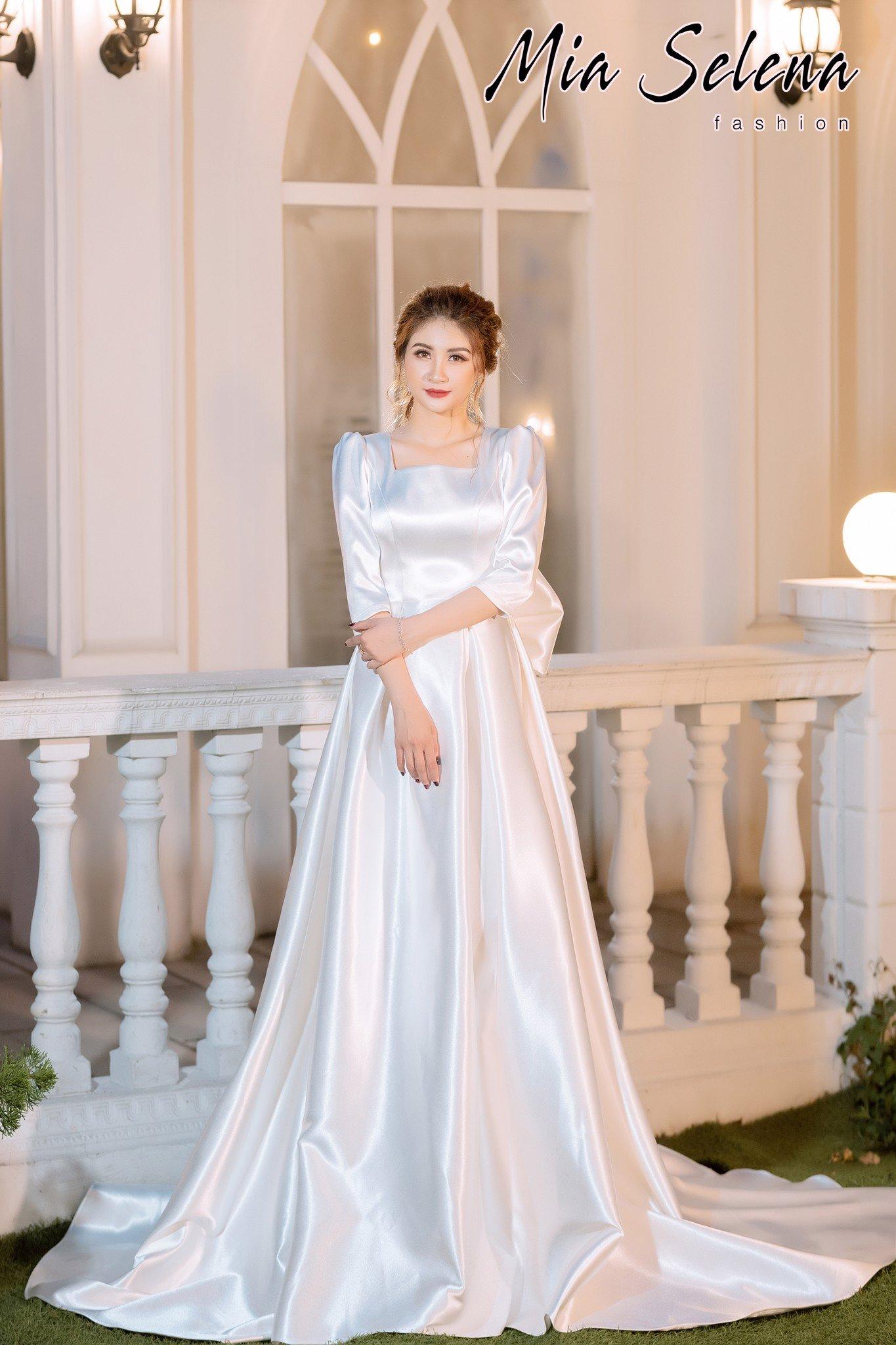 Đầm cưới Mia Selena thiết kế cổ vuông tay ngang tuyệt đẹp ( Trắng )