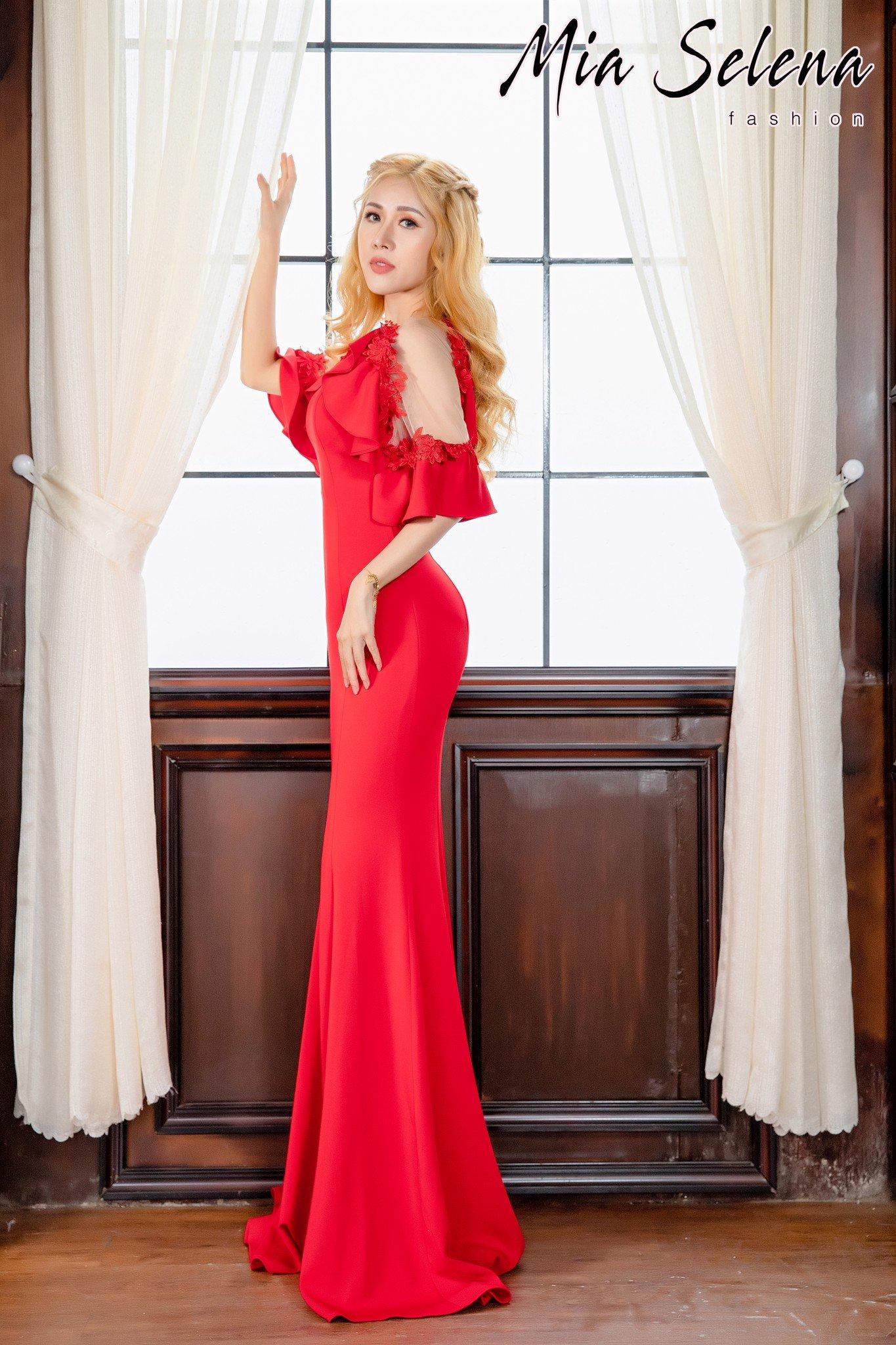 Đầm dạ hội Mia Selena thiết kế tay loe phối ren ,hoa tuyệt đẹp (Đỏ)