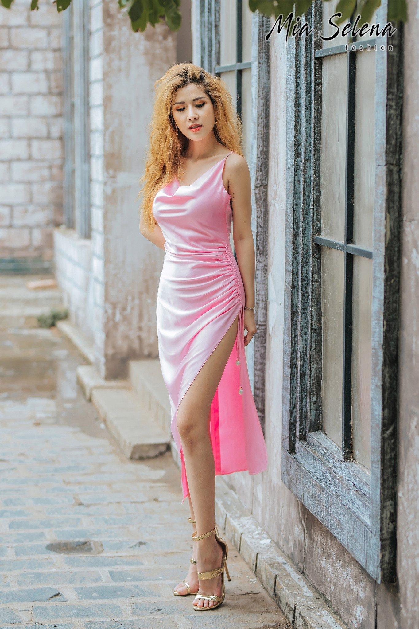 Đầm dự tiệc Mia Selena thiết kế hai dây sang chảnh(Hồng ngọc)