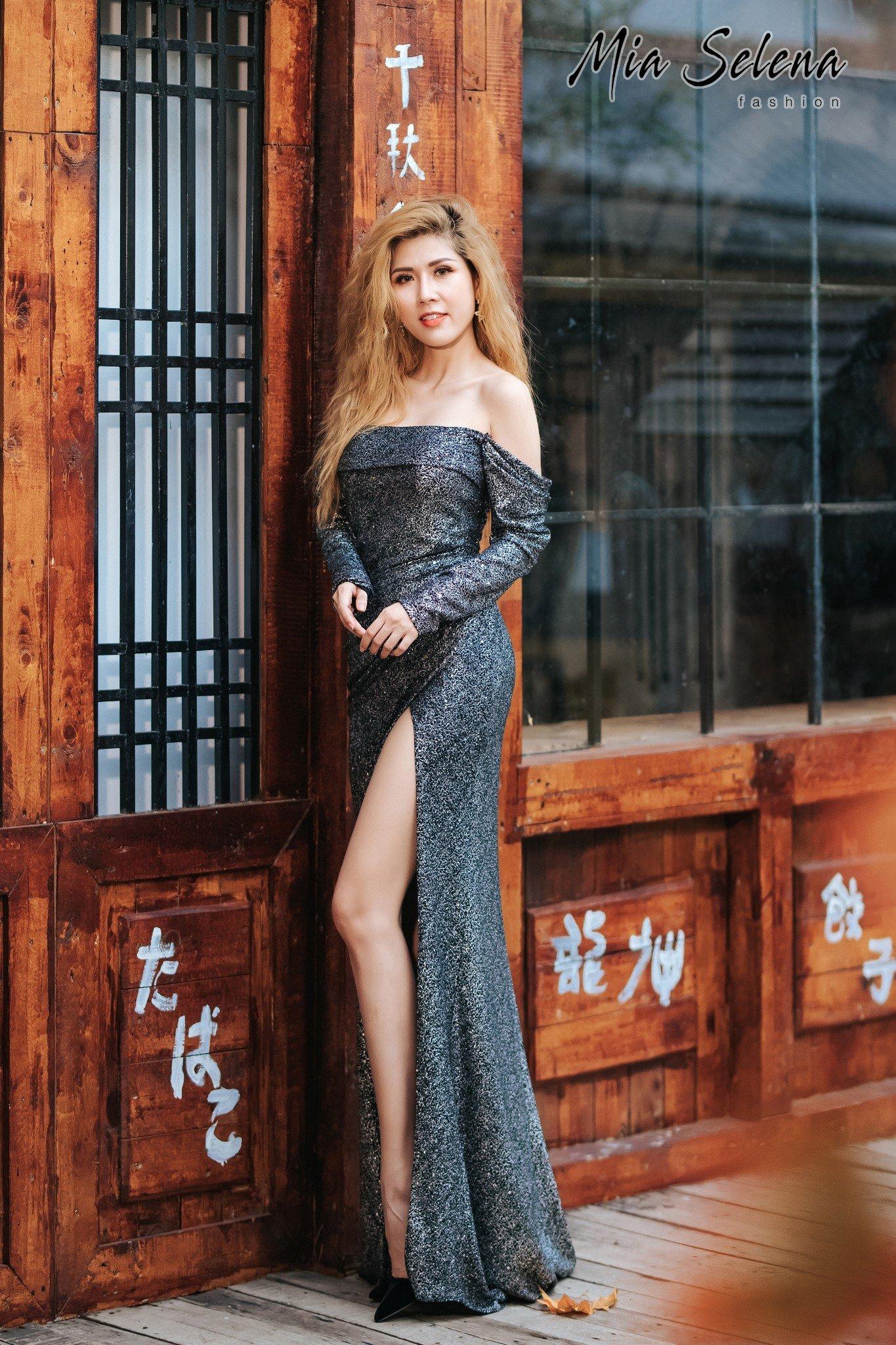 Đầm dạ hội Mia Selena thiết kế trẻ trung mới lạ (Xám-đen)