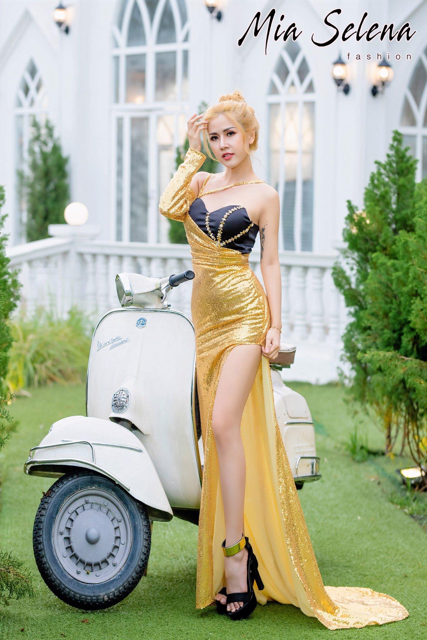 Đầm dạ hội Mia Selena thiết kế một tay xẻ đùi gợi cảm ( Vàng- đen )