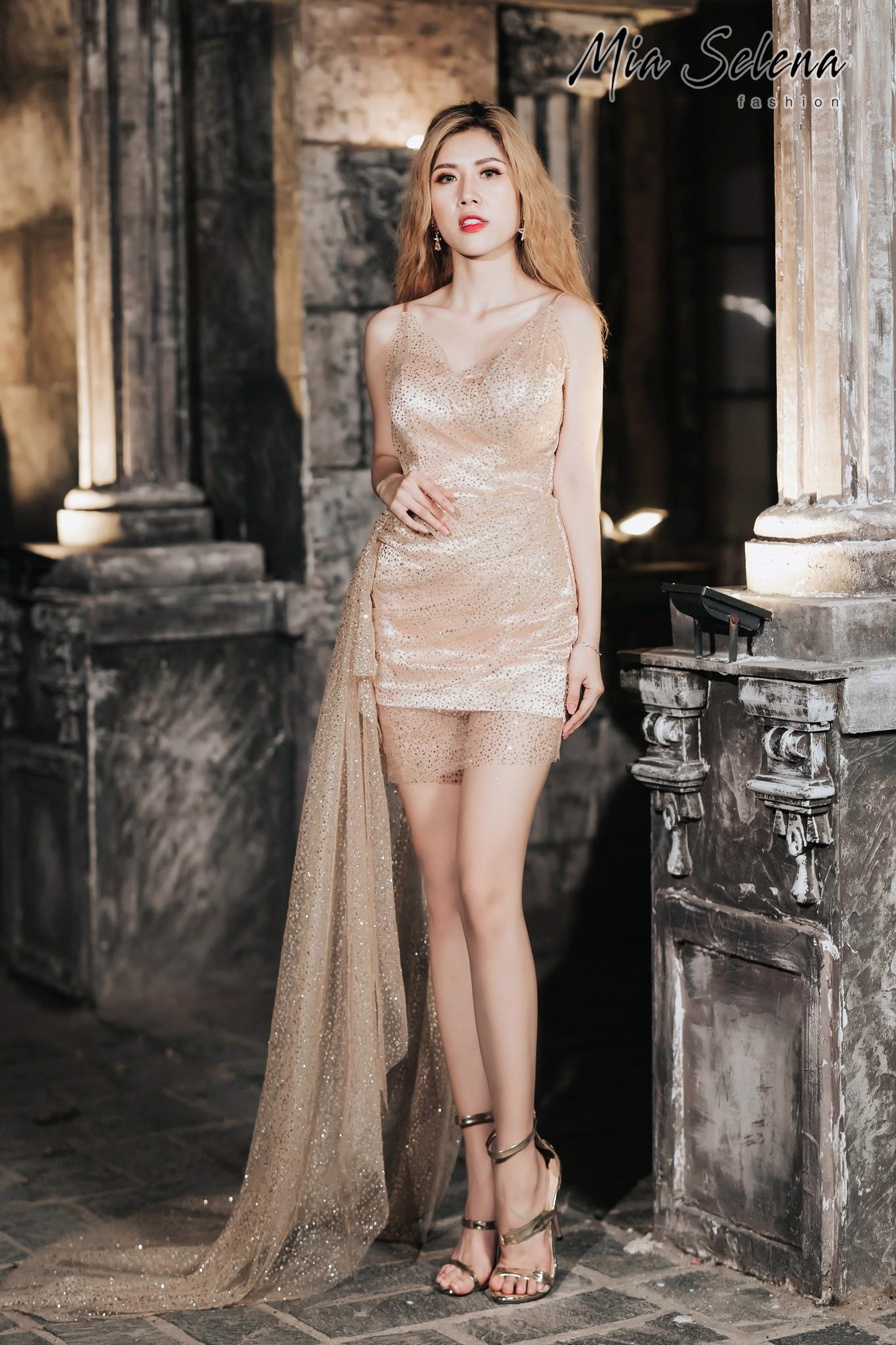 Đầm dự tiệc Mia Selena thiết kế tà dài một bên cực sang chảnh (Vàng)