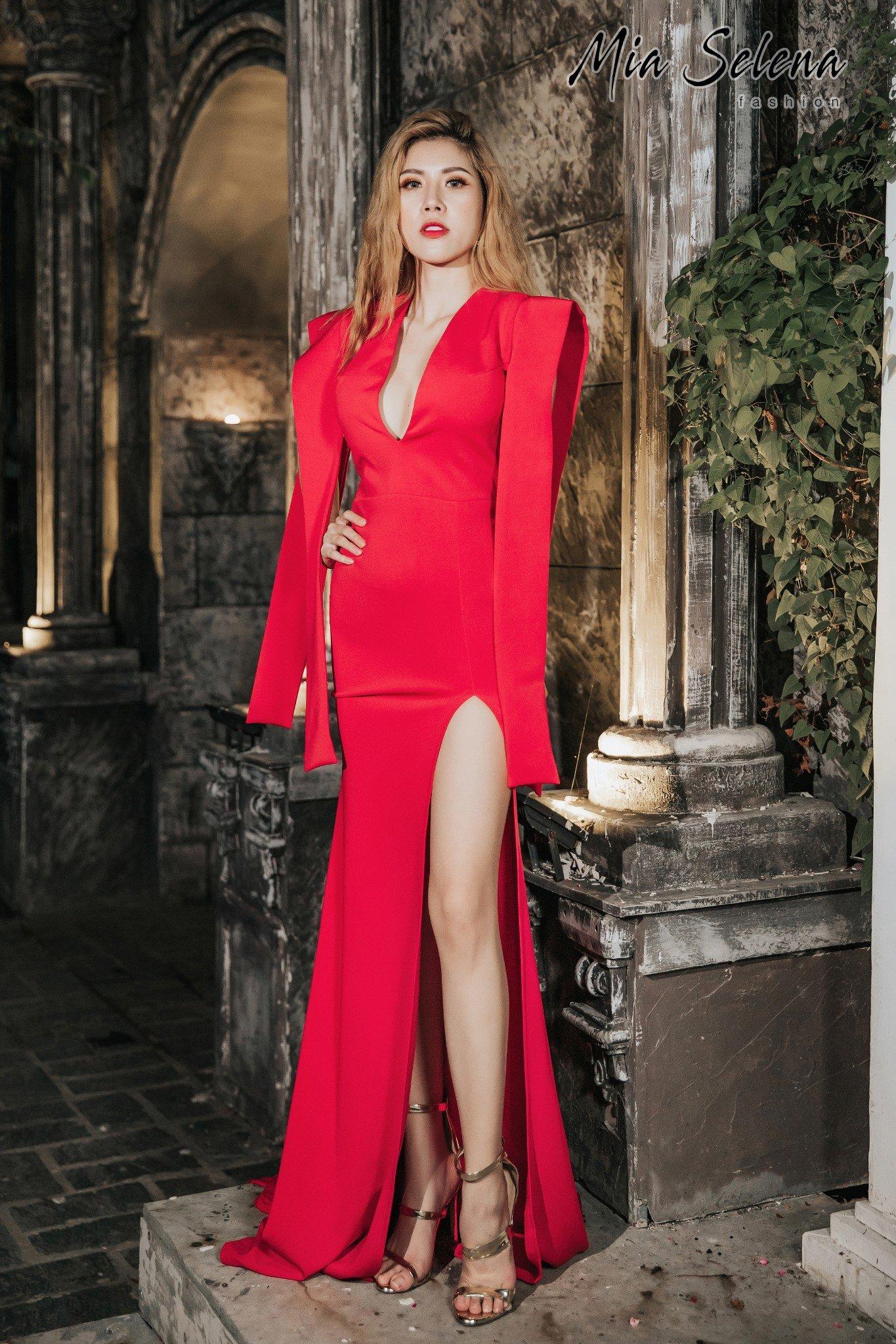 Đầm dạ hội Mia Selena thiết kế tua rua cực phong cách (Đỏ)