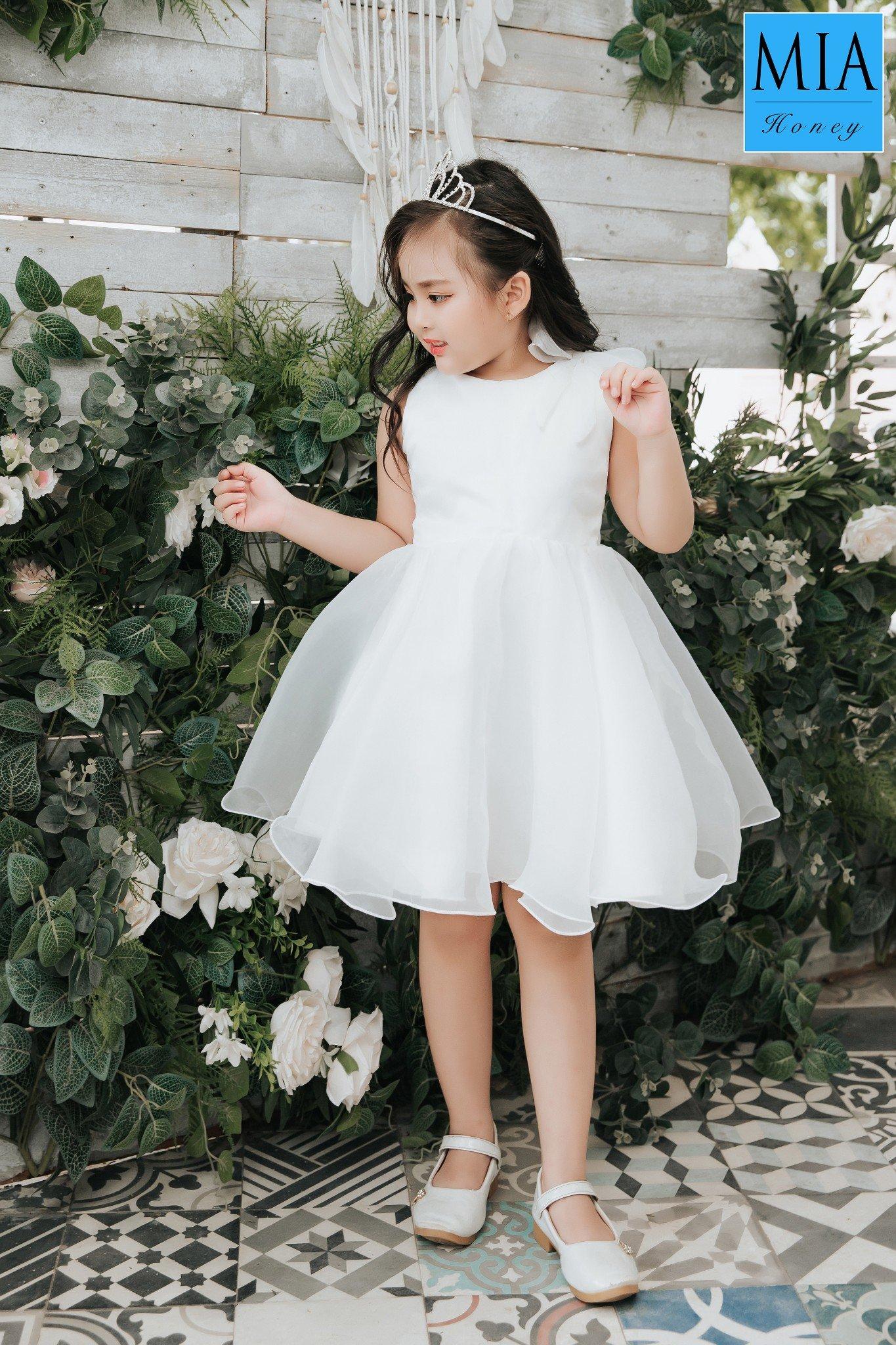 Đầm công chúa Mia Honey thiết kế nơ vai một bên phối voan xòe điệu đà (Trắng)