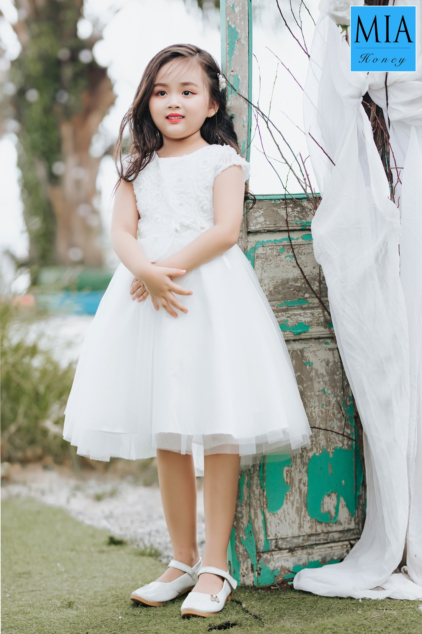 Đầm công chúa Mia Honey thiết kế phối lưới xòe dễ thương (Trắng)
