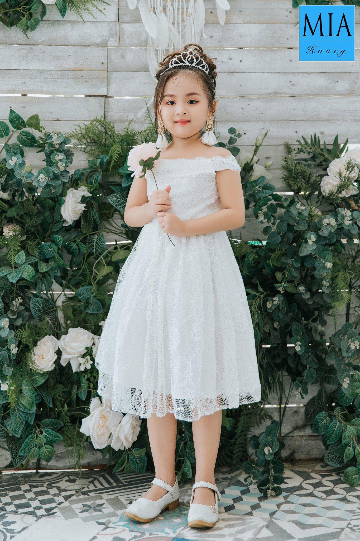 Đầm công chúa Mia Honey thiết kế bẹt vai phối ren xinh xắn (Trắng)