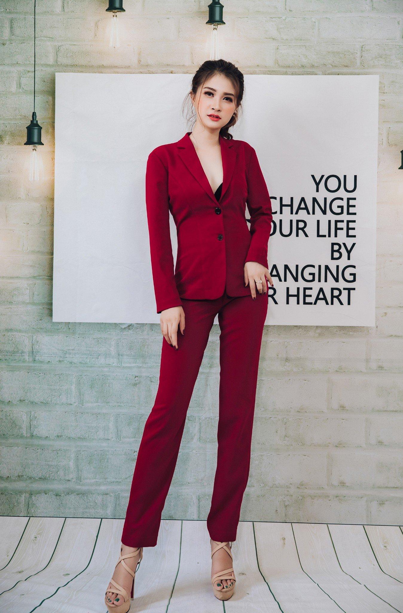 Bộ vest Mia Selena thiết kế sang chảnh ( Đỏ đô)