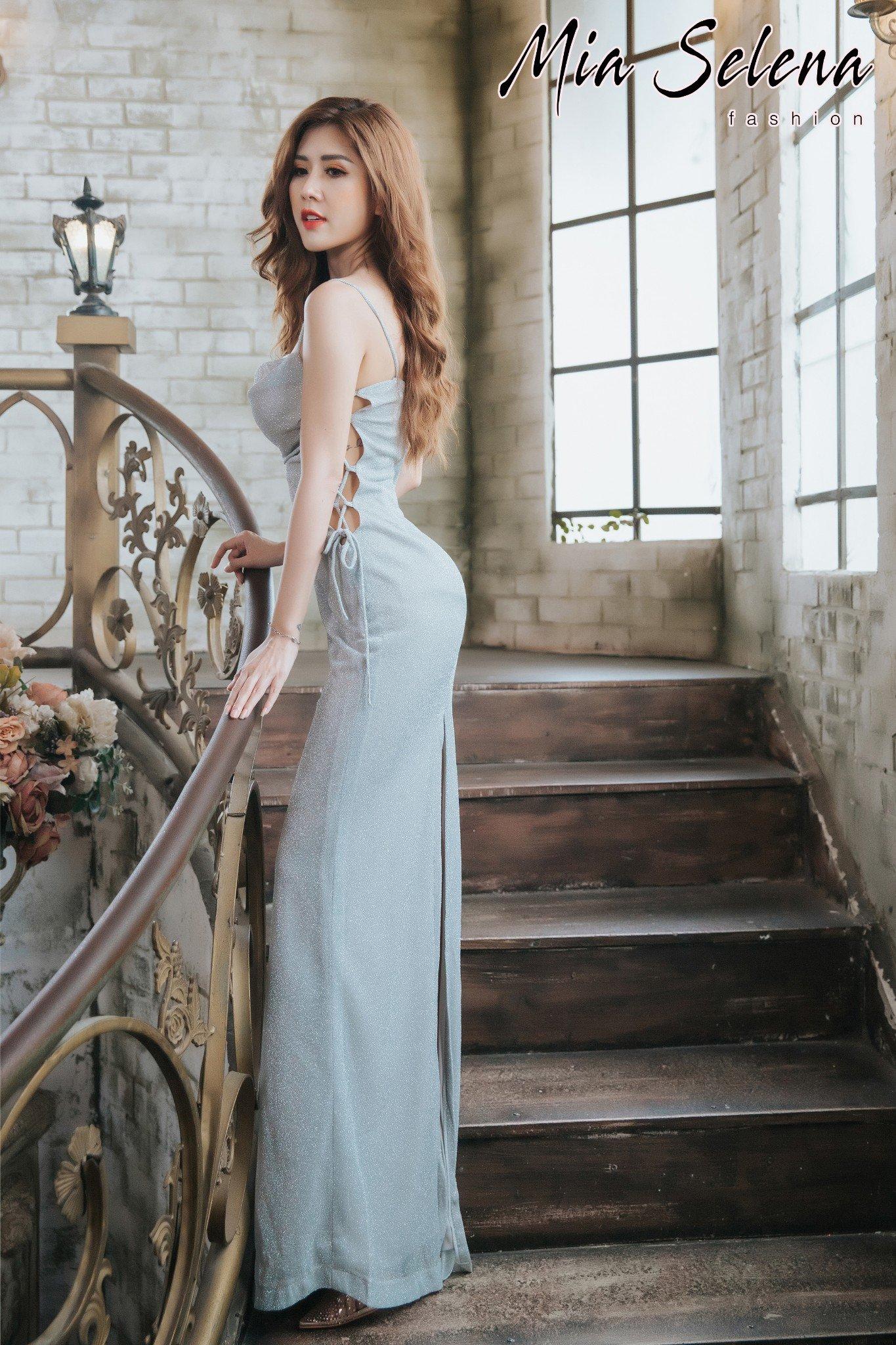 Đầm dạ hội Mia Selena  kim tuyến dệt thiết kế trẻ trung