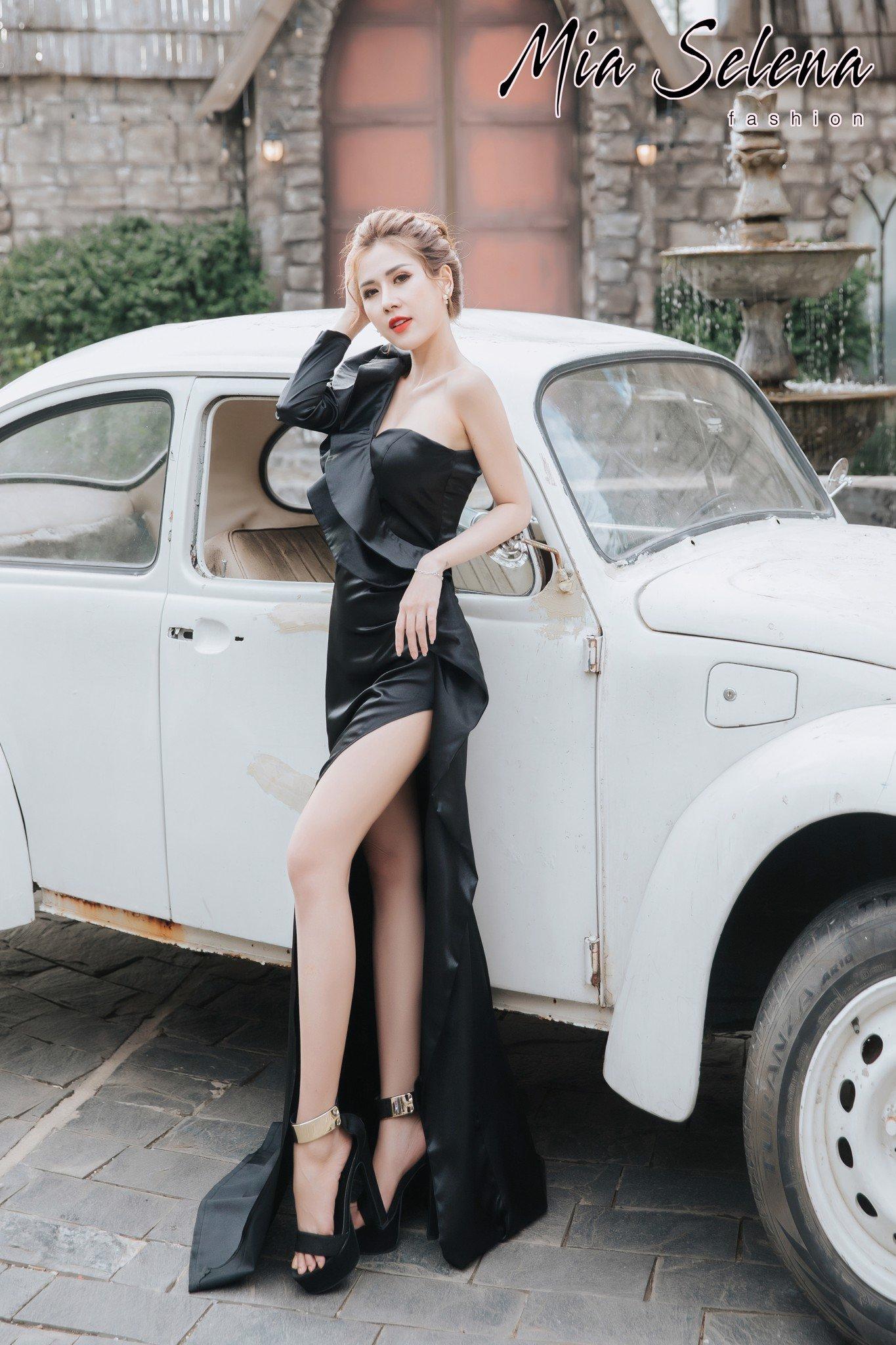 Đầm dạ hội Mia Selena thiết kế một tay dài xẻ đùi cực gợi cảm (Đen)
