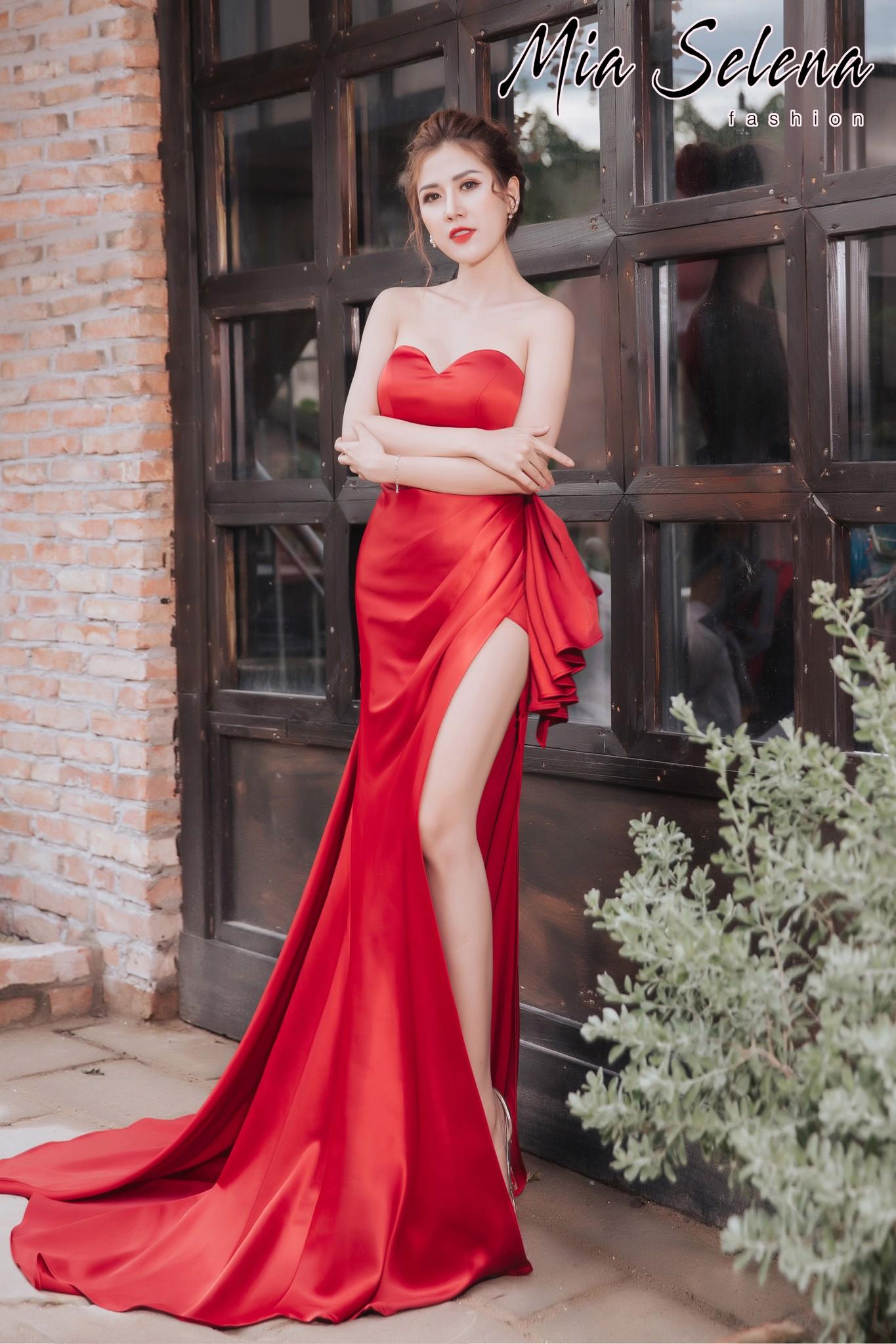Đầm cưới Mia Selena  thiết kế cup ngực phối bèo gợi cảm ,sang chảnh (Đỏ)