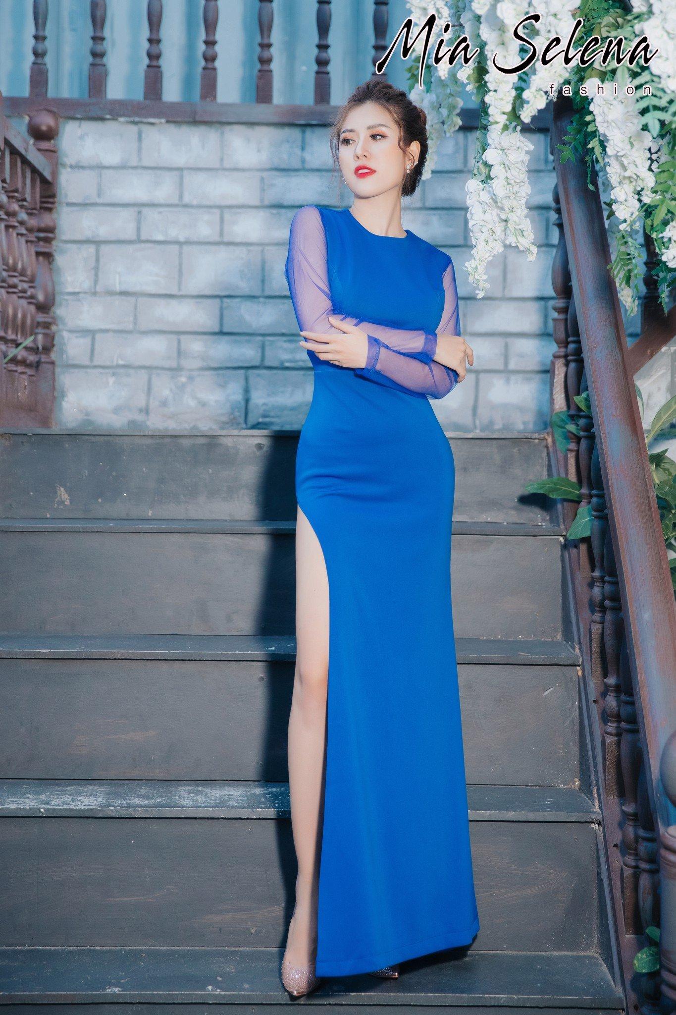 Đầm dạ hội Mia Selena thiết kế tay dài phối lưới xẻ đùi cực tôn dáng (Xanh-dương)