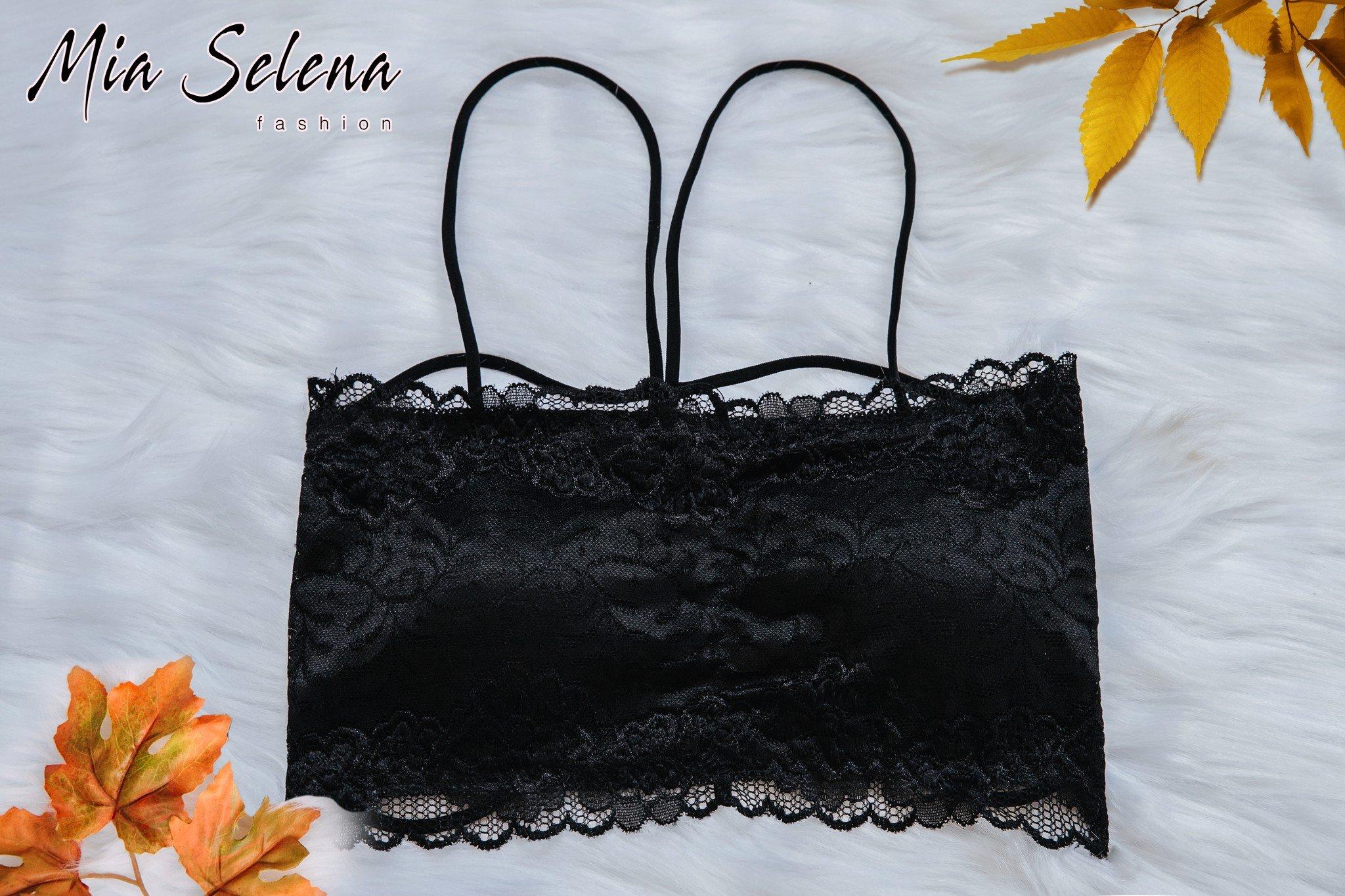 Áo bra Mia Selena thiết kế hai dây phối ren gợi cảm (Đen)