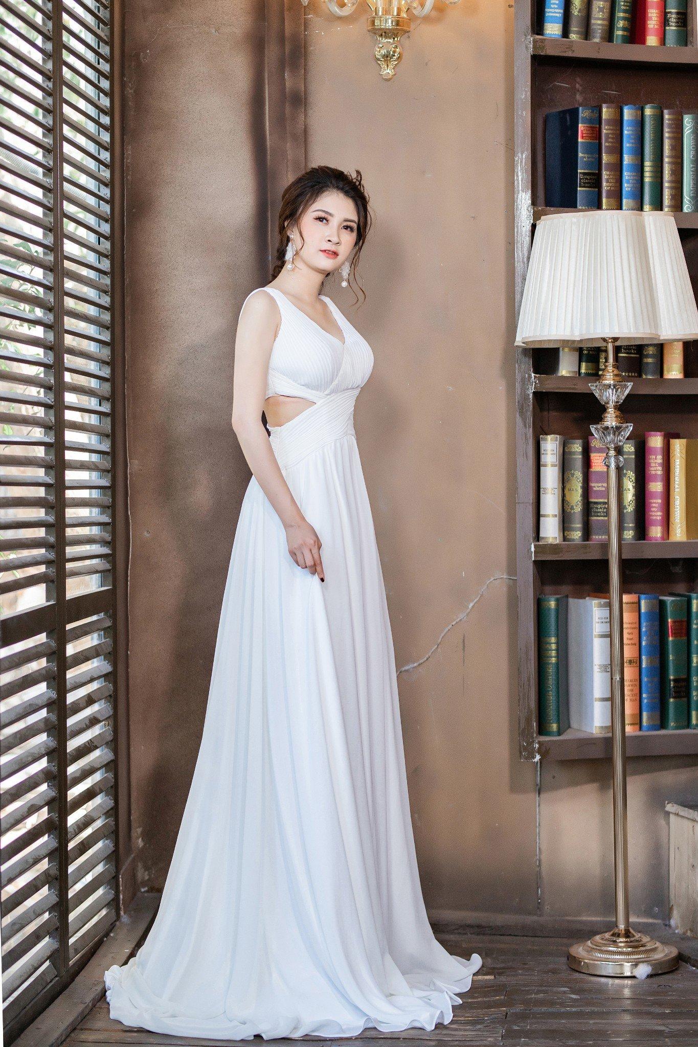 Đầm dạ hội Mia Selena thiết kế  hở eo cực tôn dáng ( Trắng )