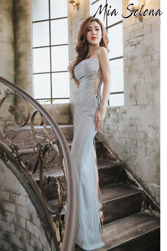 Đầm dạ Đầm  dạ hội Mia Selena thiết kế đan dây cực tôn dáng ( Bạc nhũ ) - Free sizehội Mia Selena thiết kế tuyệt đẹp - Free size