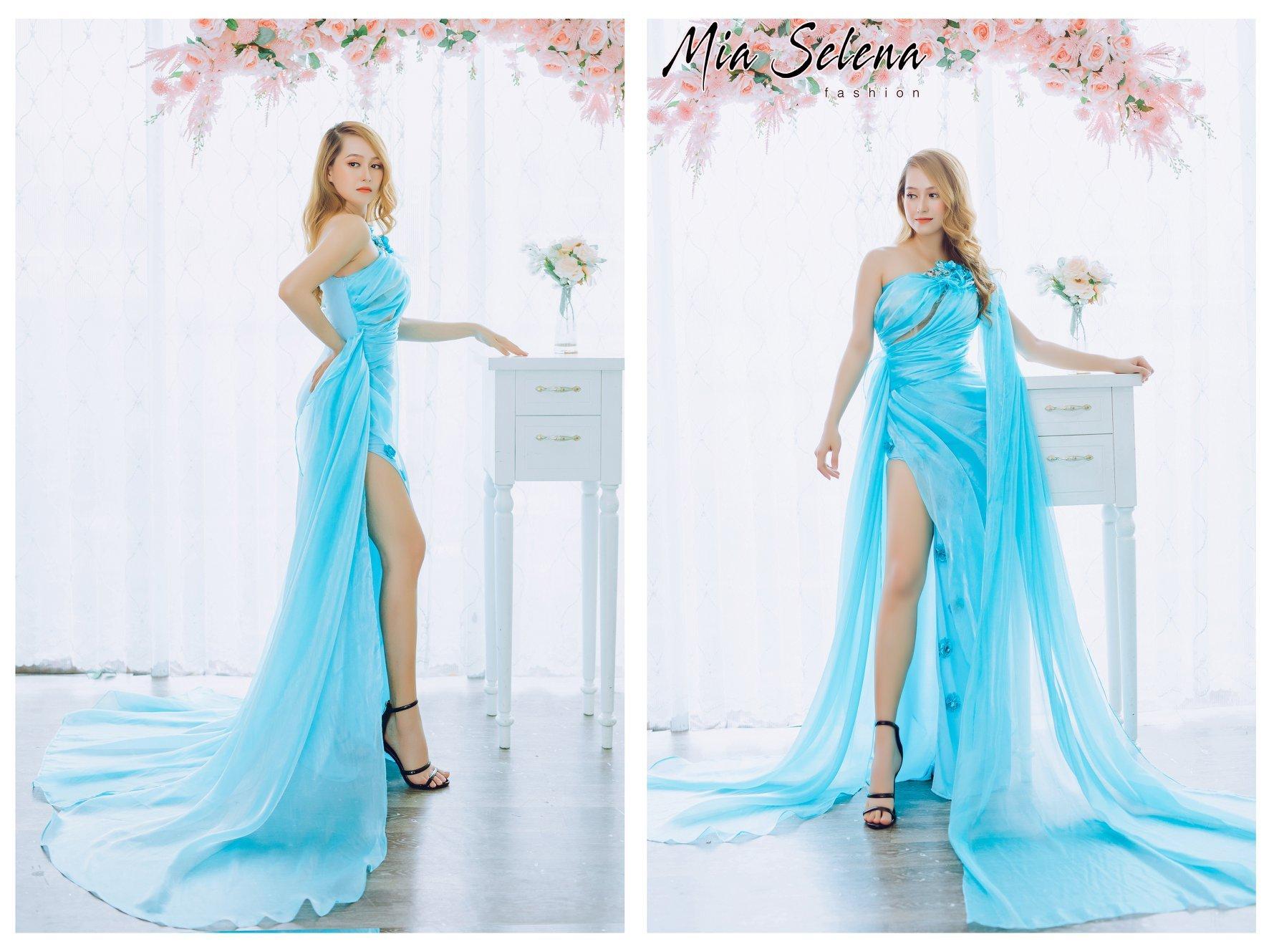 Đầm dạ hội Mia Selena xanh thiết kế trẻ trung