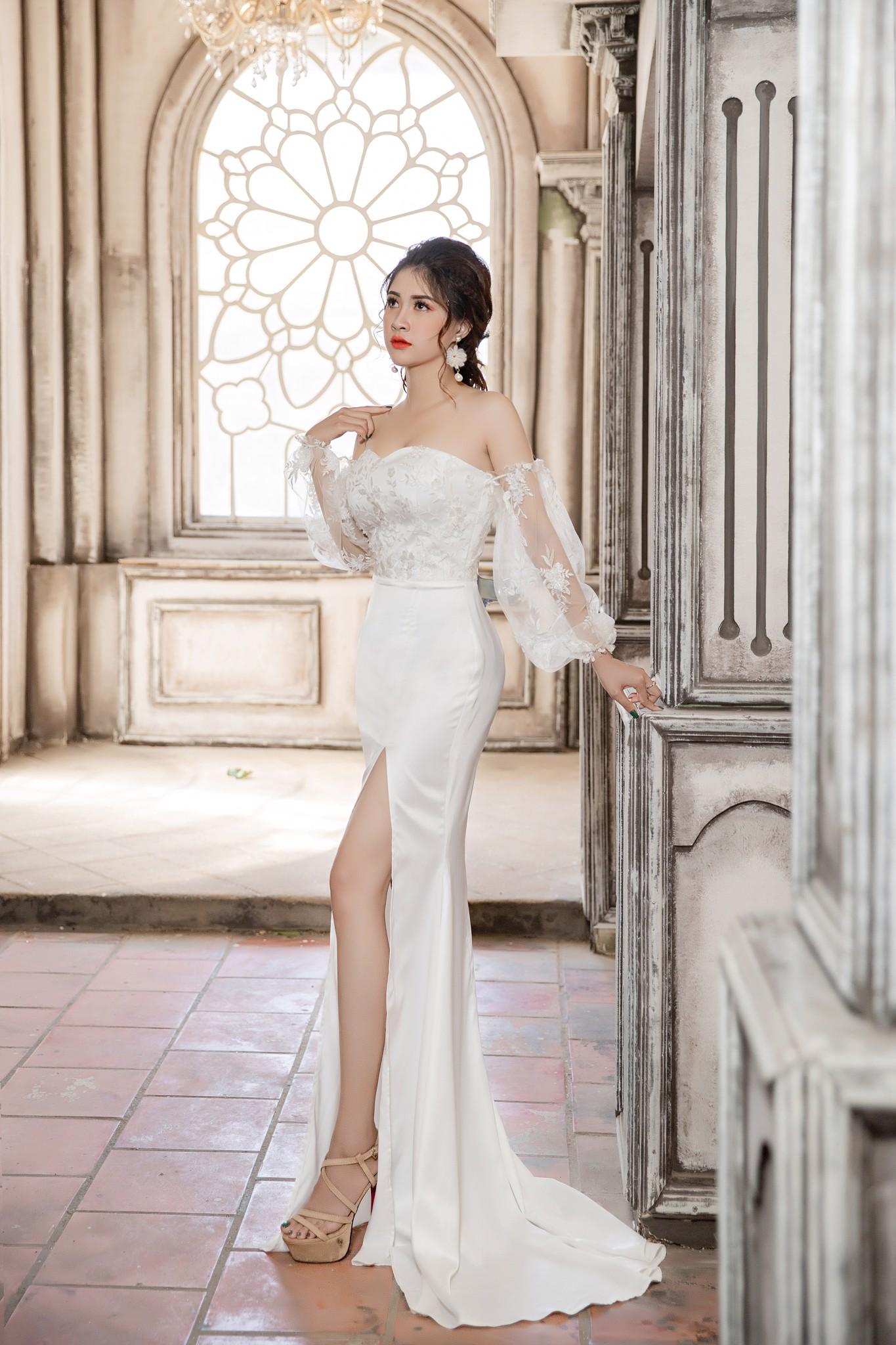 Đầm dạ hội Mia Selena thiết kế  tinh tế trẻ trung tuyệt đẹp cực tôn dáng (Trắng)