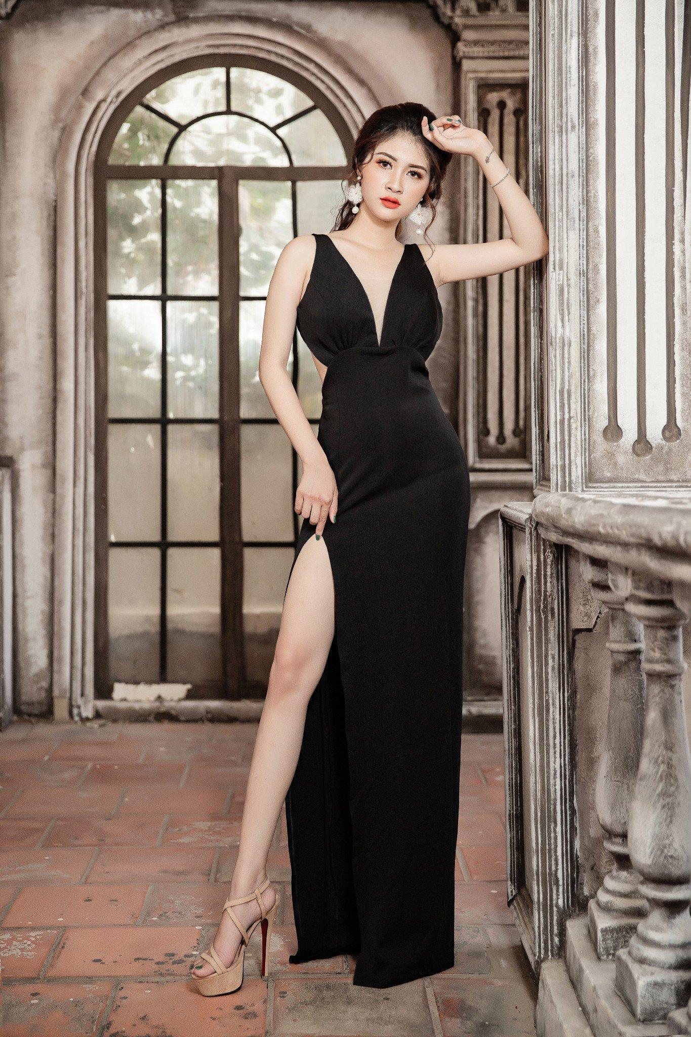 Đầm dạ hội Mia Selena hở lưng thiết kế ôm body cực tôn dáng (Đen)