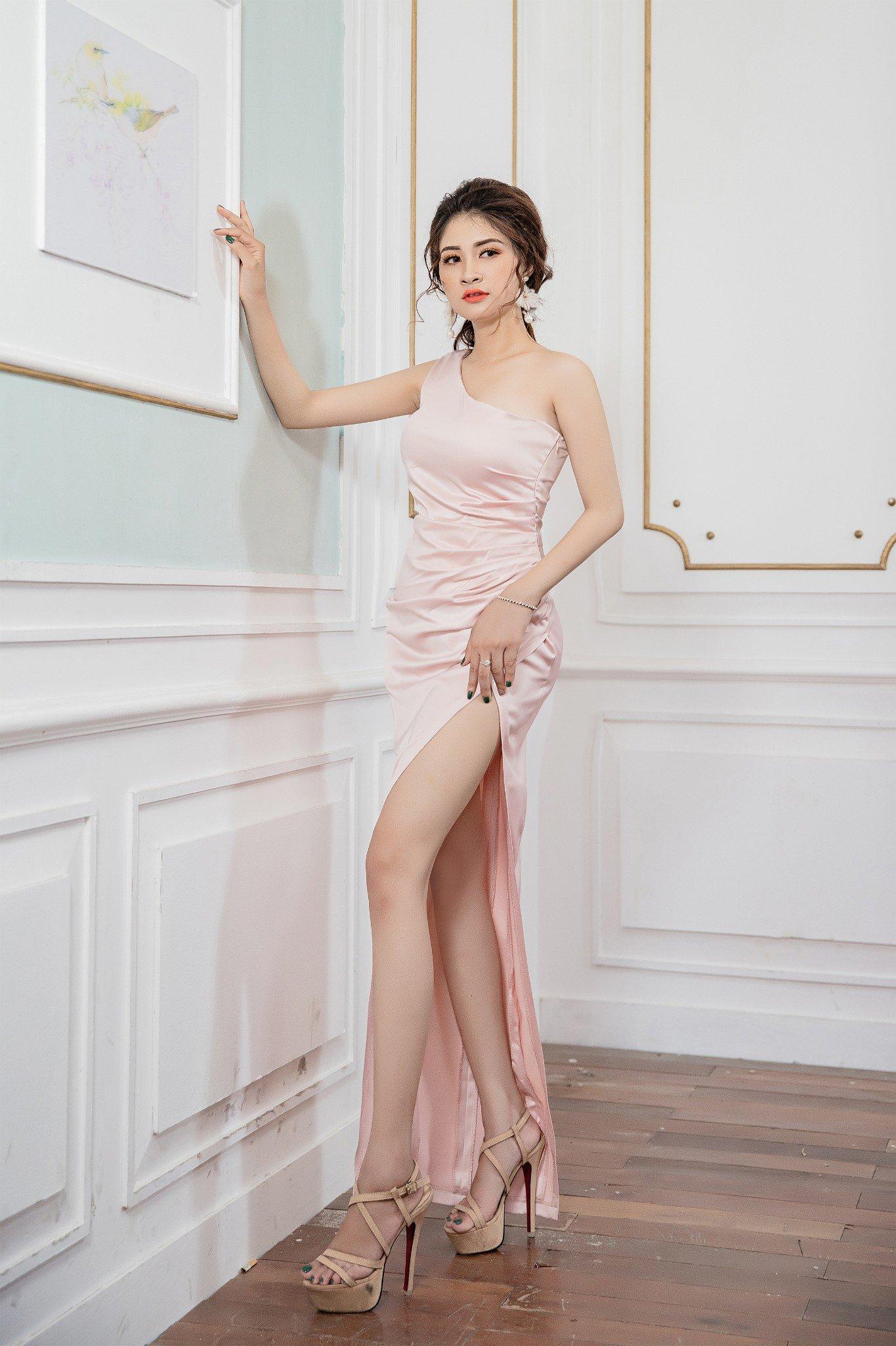 Đầm dạ hội  Mia Selena thiết kế thiết kế lệch vai cực tôn dáng (Hồng)