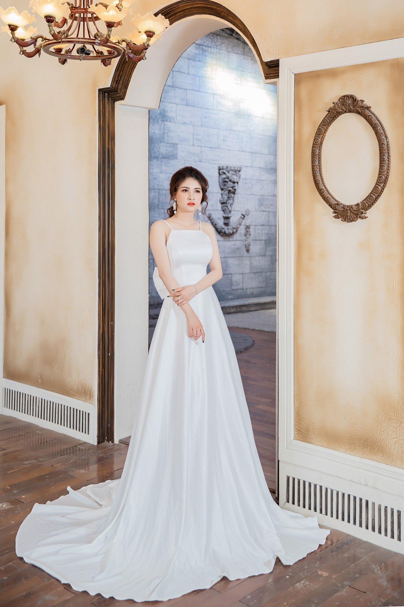 Đầm xòe  Mia Selena thiết kế  đính hạt châu trên vai sang trọng (Trắng)