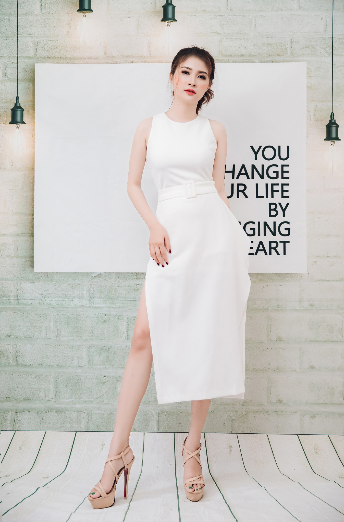 Đầm công sở, dự tiệc Mia Selena  thiết kế ôm body cực tôn dáng (Trắng)