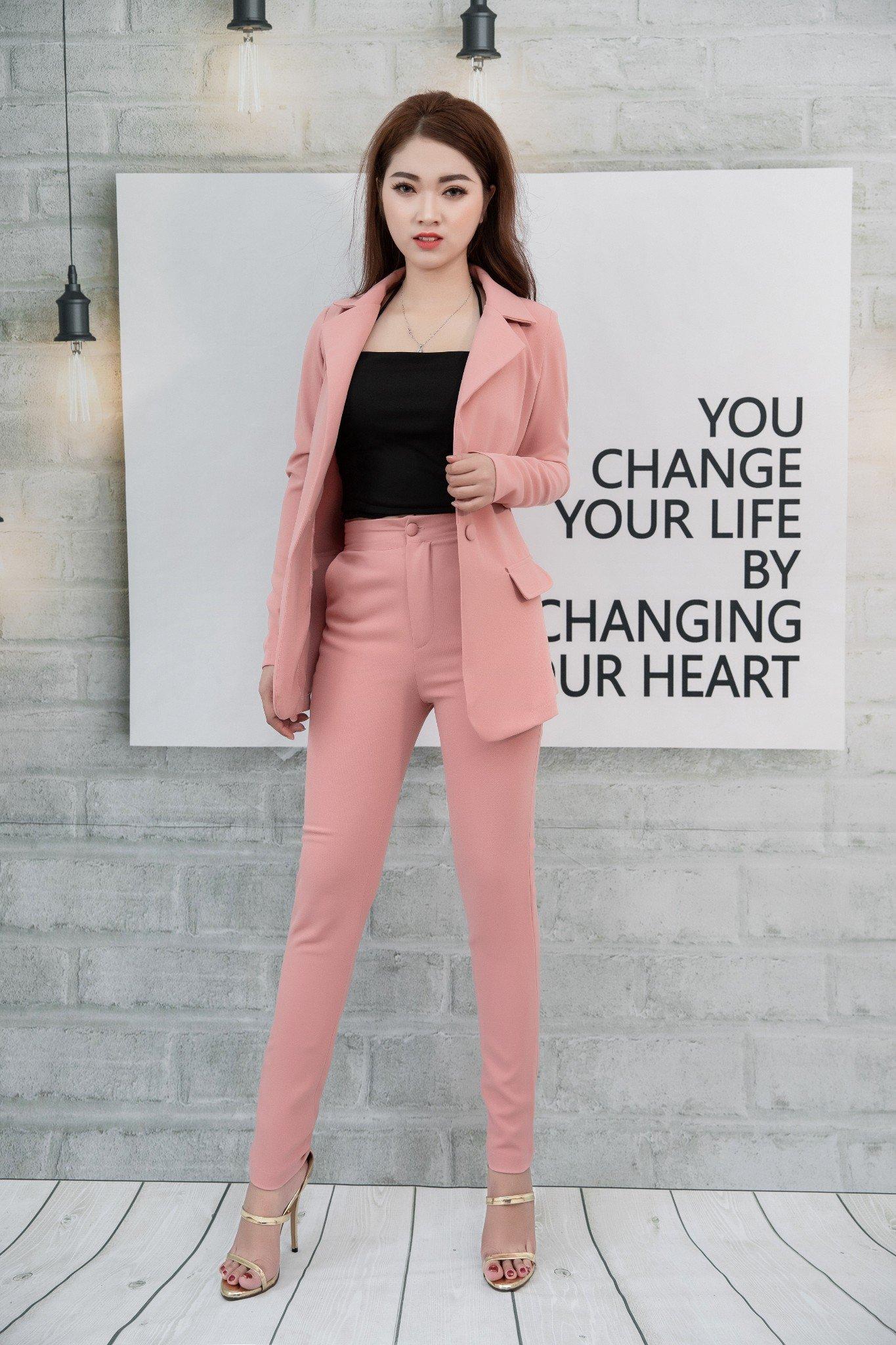 Bộ vest Mia Selena  form áo rộng thiết kế trẻ trung tuyệt đẹp (Hồng)