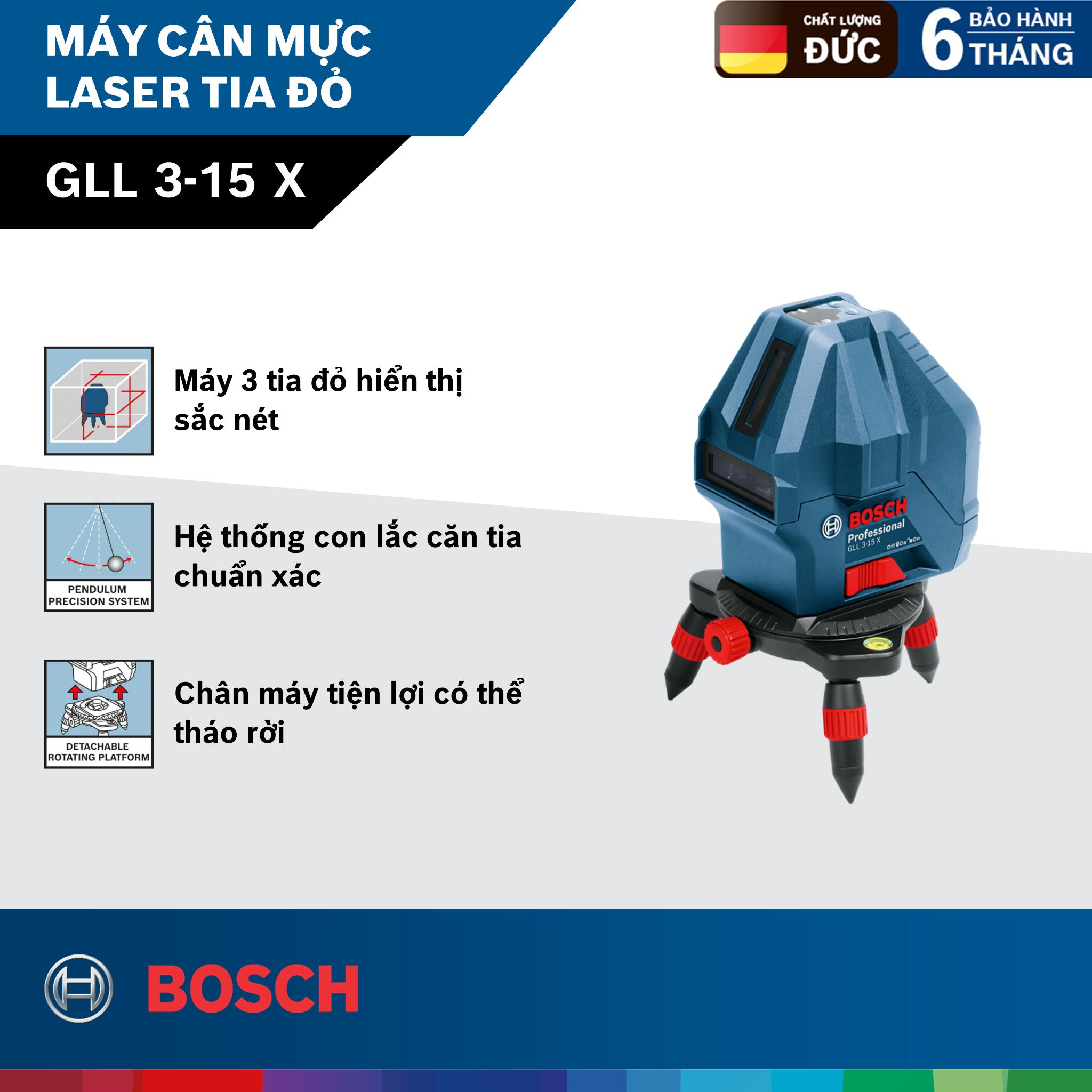 Máy cân mực laser tia đỏ Bosch GLL 3-15X