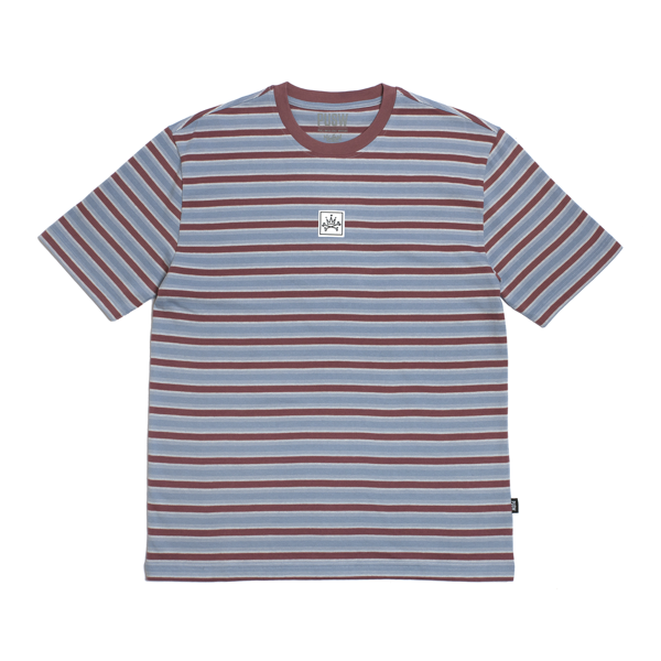 BASIC STRIPED TEE - STEEL