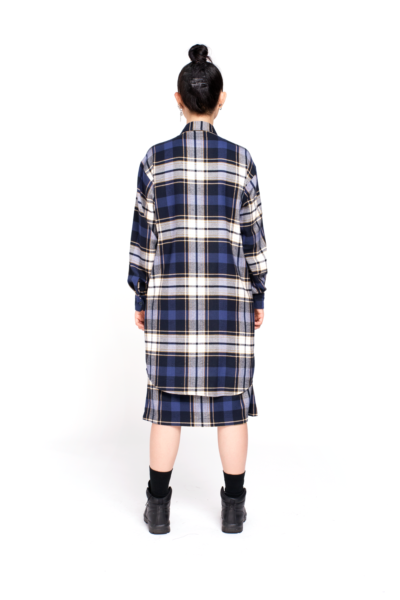 NAVY FLANNEL LONG SHIRT