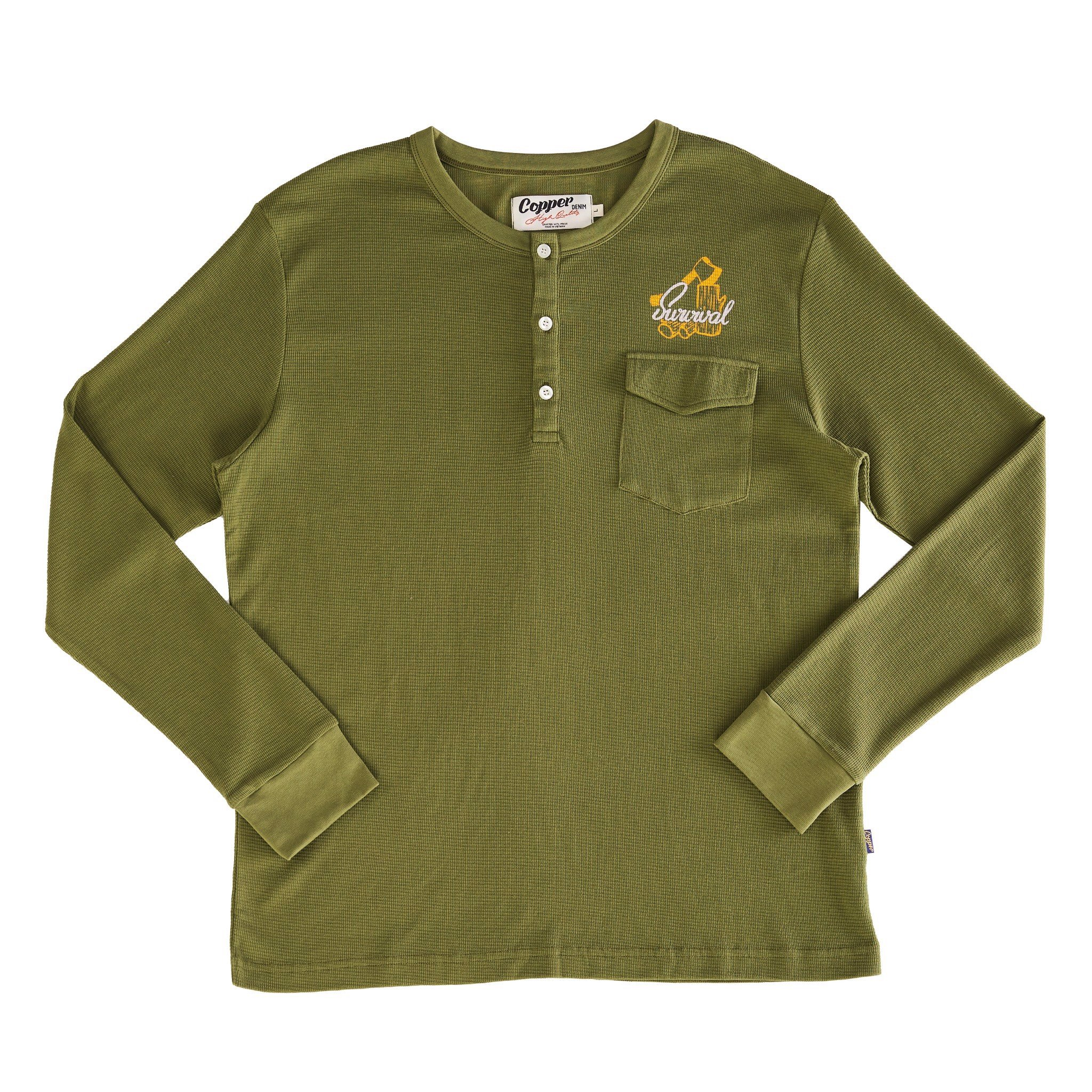 Copper Survival Leaf-Green Waffle Long Sleeves - Cổ Trụ