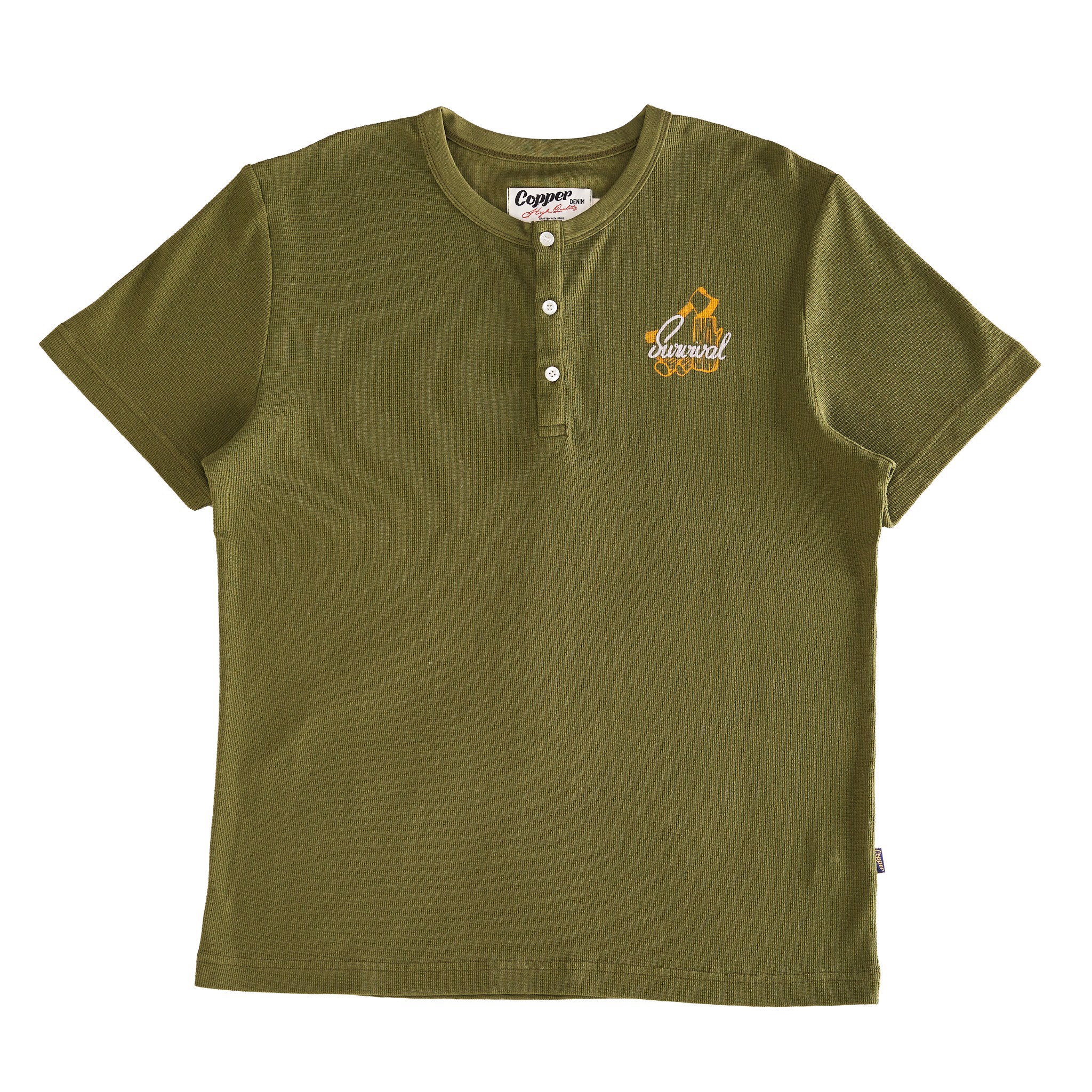 Copper Survival Leaf-Green Waffle Short Sleeves - Cổ Trụ